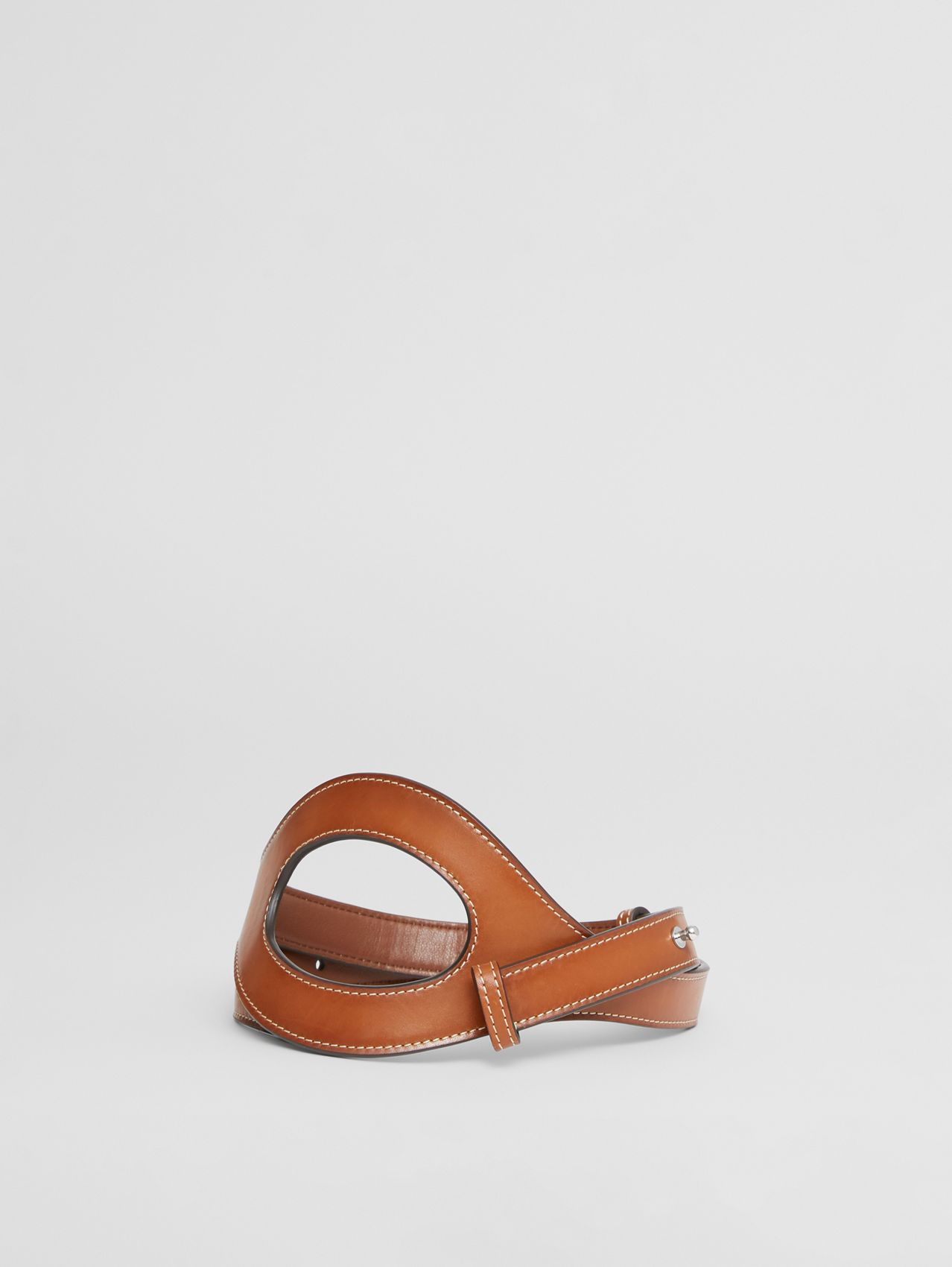 Cut-out Detail Topstitched Leather Belt in Briar Brown