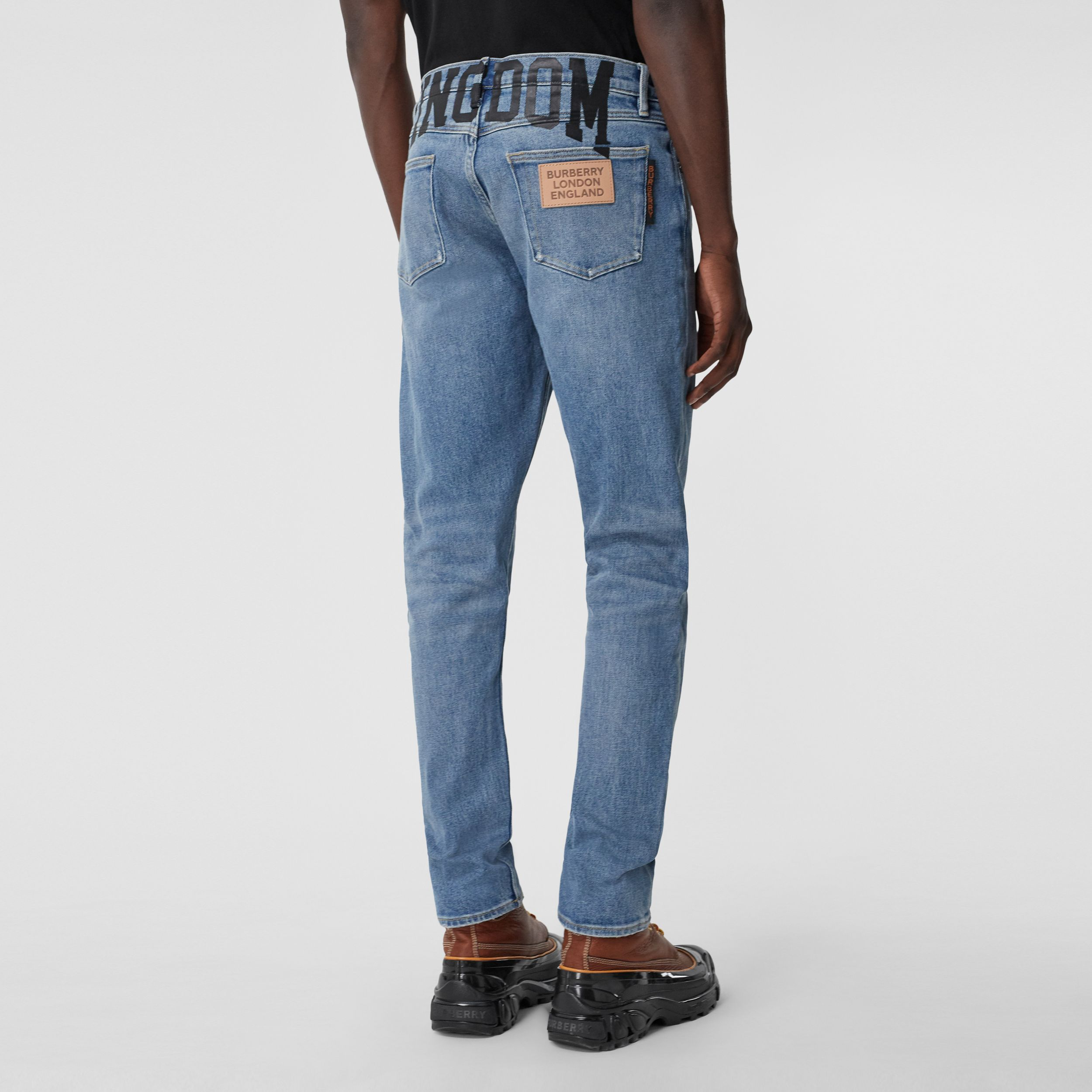 Slim Fit Kingdom Print Washed Jeans in Light Indigo Blue - Men | Burberry - 3
