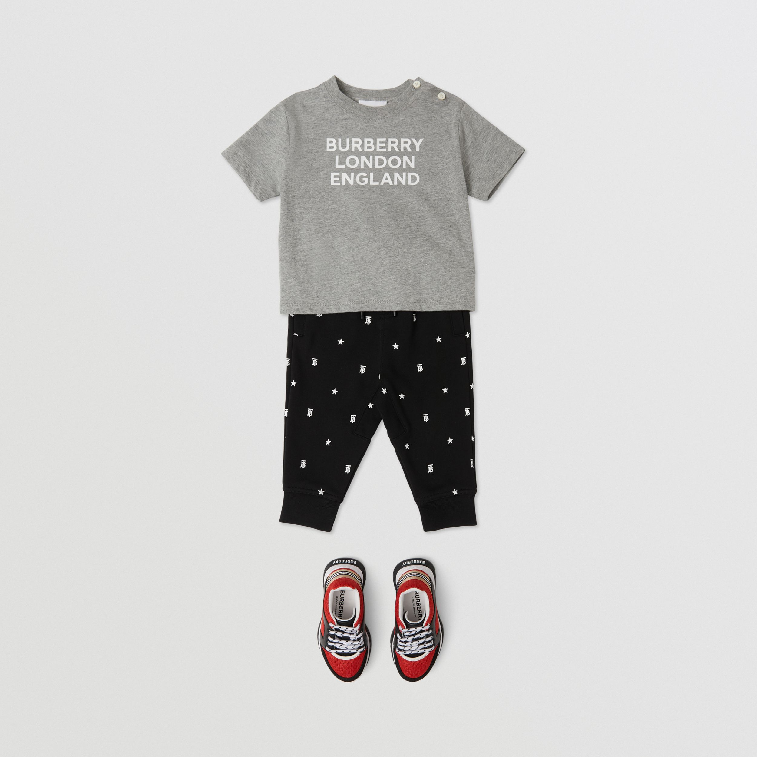 Logo Print Cotton T-shirt in Grey Melange - Children | Burberry United Kingdom - 4