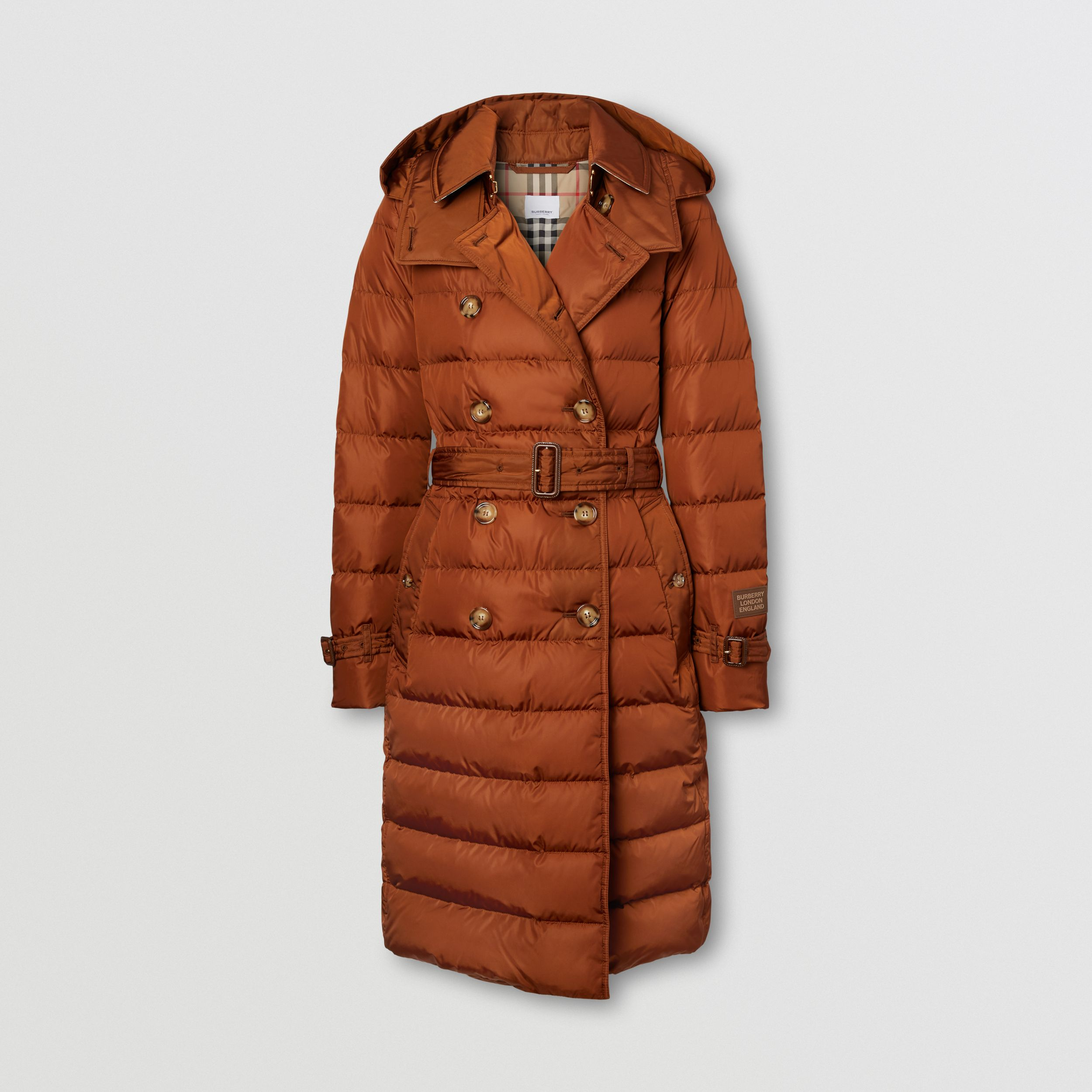 Logo Appliqué Detachable Hood Puffer Coat in Warm Brown - Women | Burberry - 4