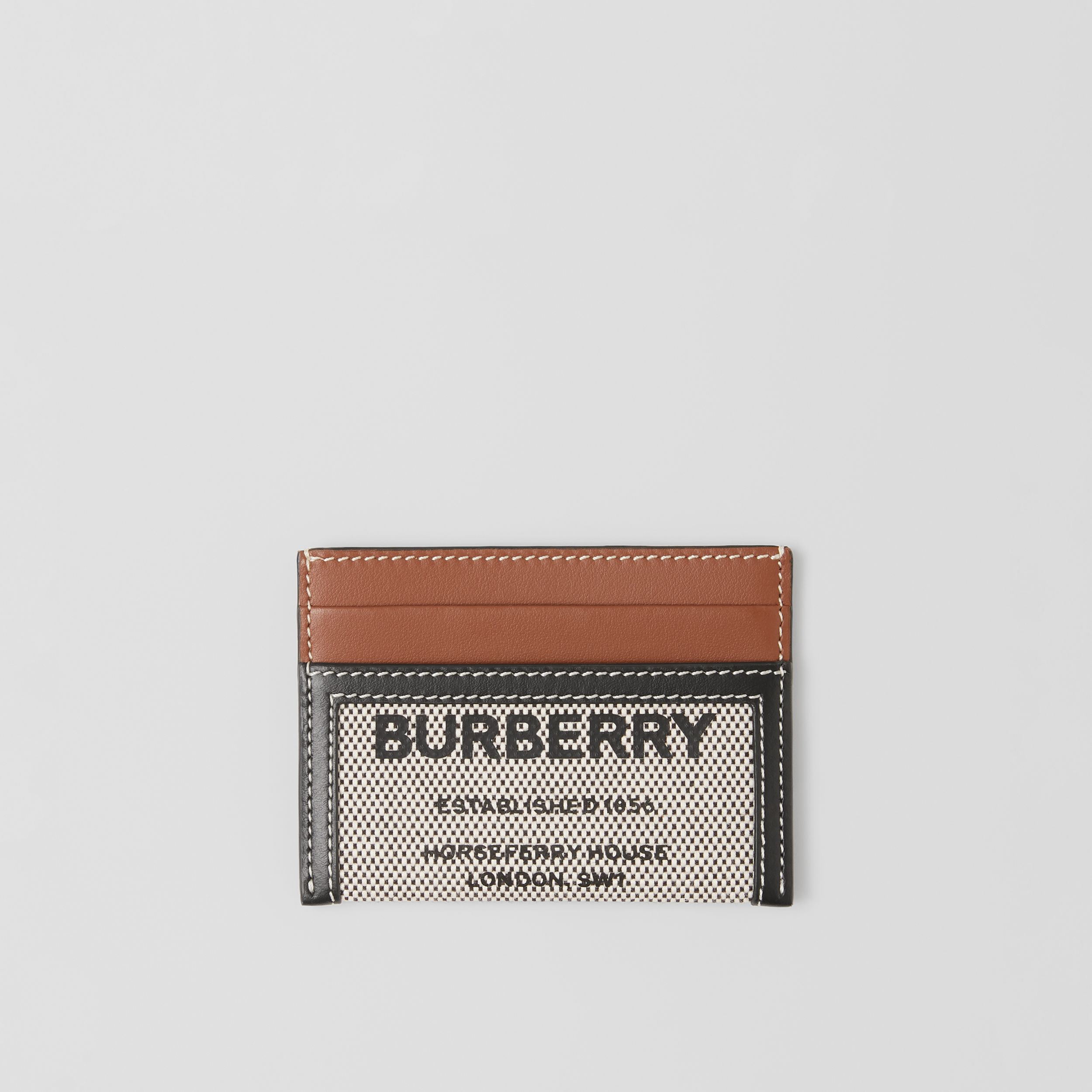 Horseferry Print Cotton Canvas and Leather Card Case in Black/tan - Women | Burberry - 1