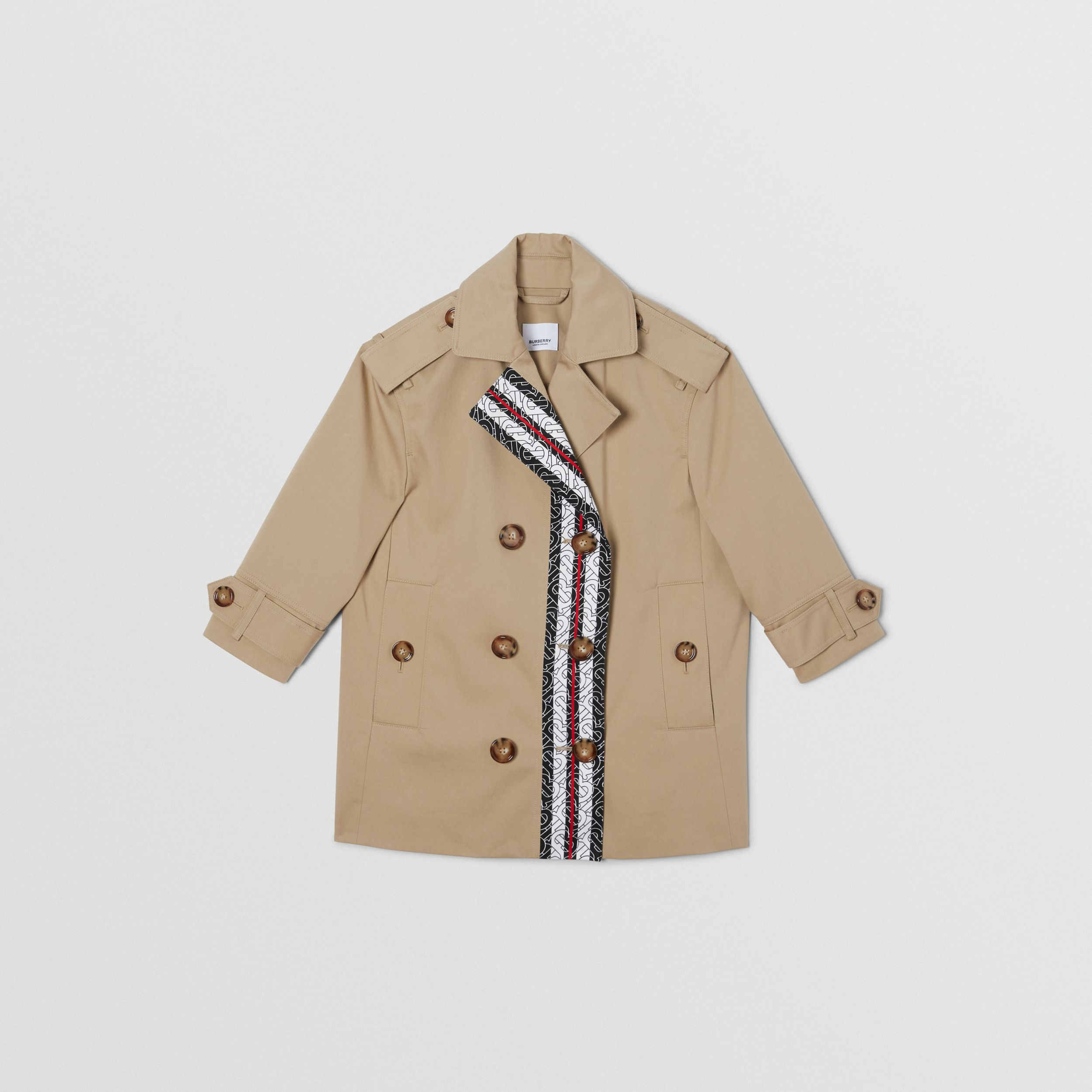 Monogram Stripe Print Cotton Trench Coat in Honey | Burberry - 1