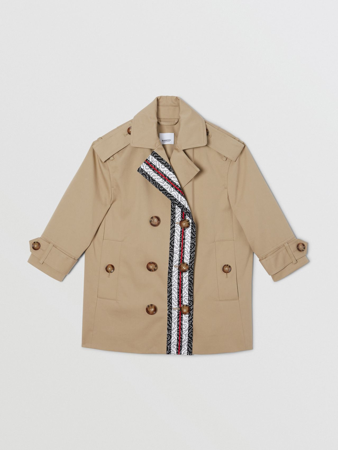 Monogram Stripe Print Cotton Trench Coat in Honey