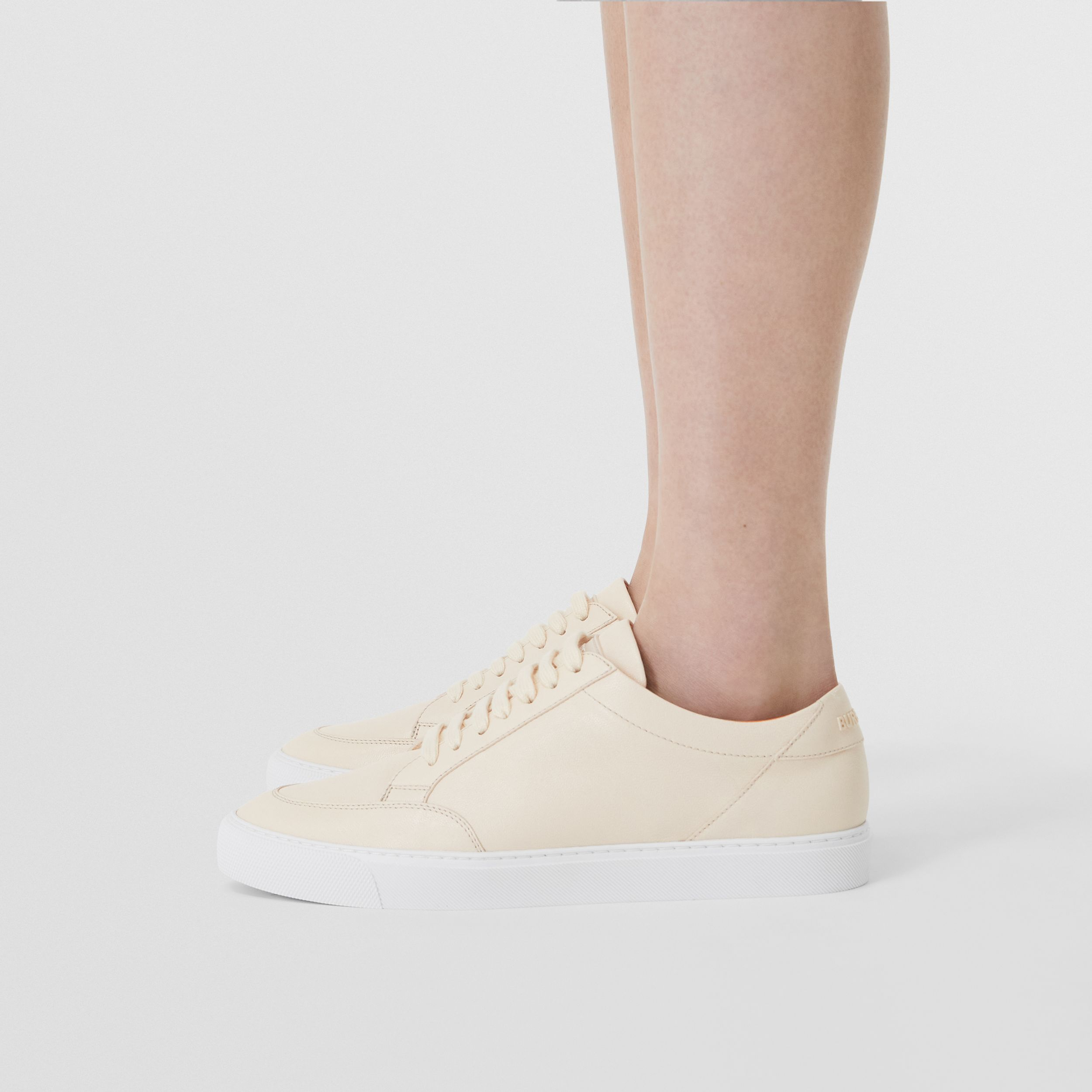 Logo Detail Lambskin Sneakers in Pale Biscuit - Women | Burberry Singapore - 3