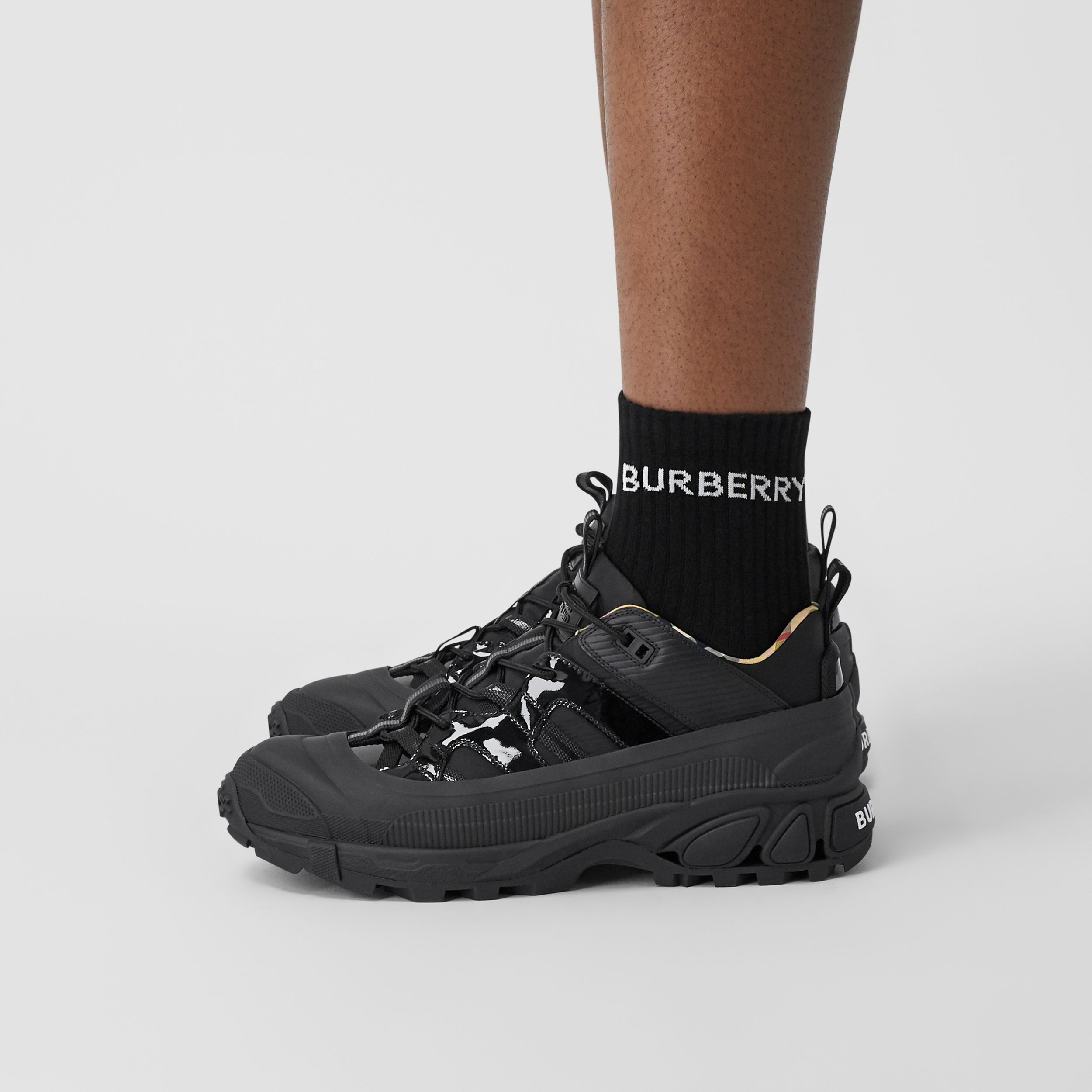 Nylon and Patent Leather Arthur Sneakers in Black - Men | Burberry - 3