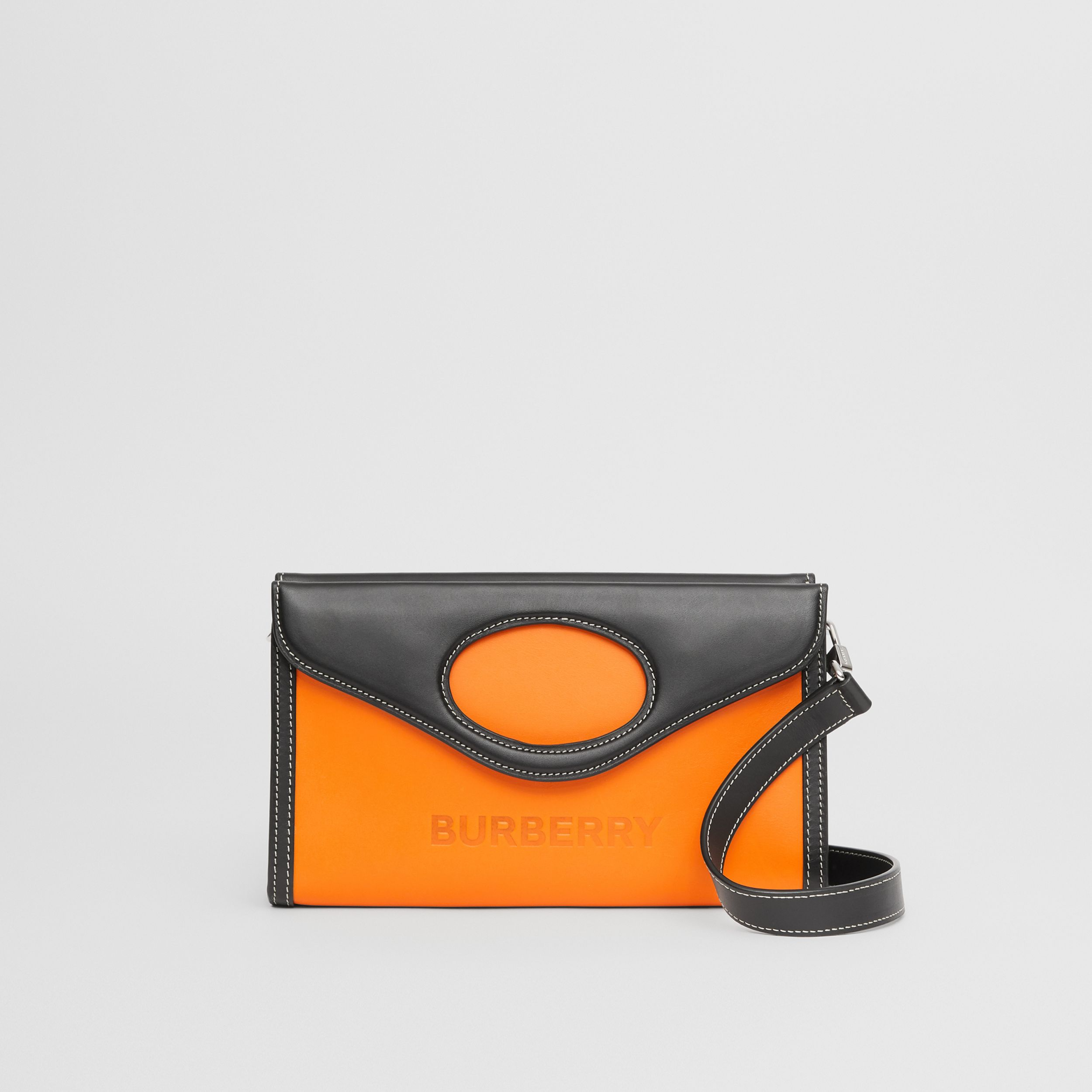 Two-tone Leather Foldover Pocket Bag in Deep Orange/black - Men | Burberry Australia - 1