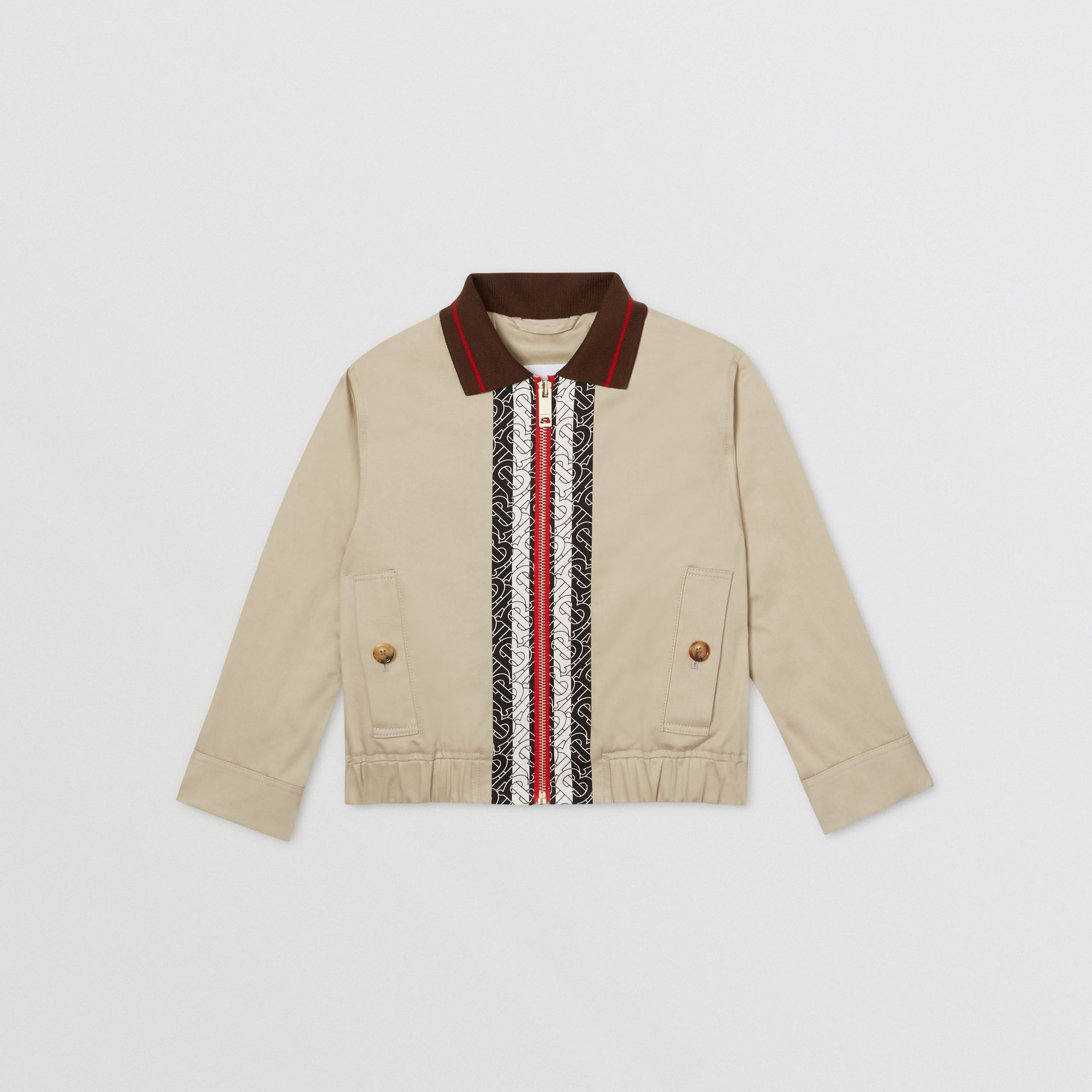Monogram Stripe Print Cotton Harrington Jacket in Stone | Burberry Australia - 1