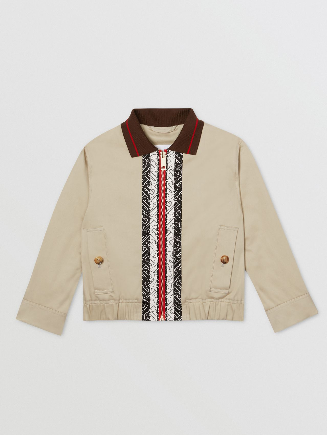 Monogram Stripe Print Cotton Harrington Jacket (Stone)