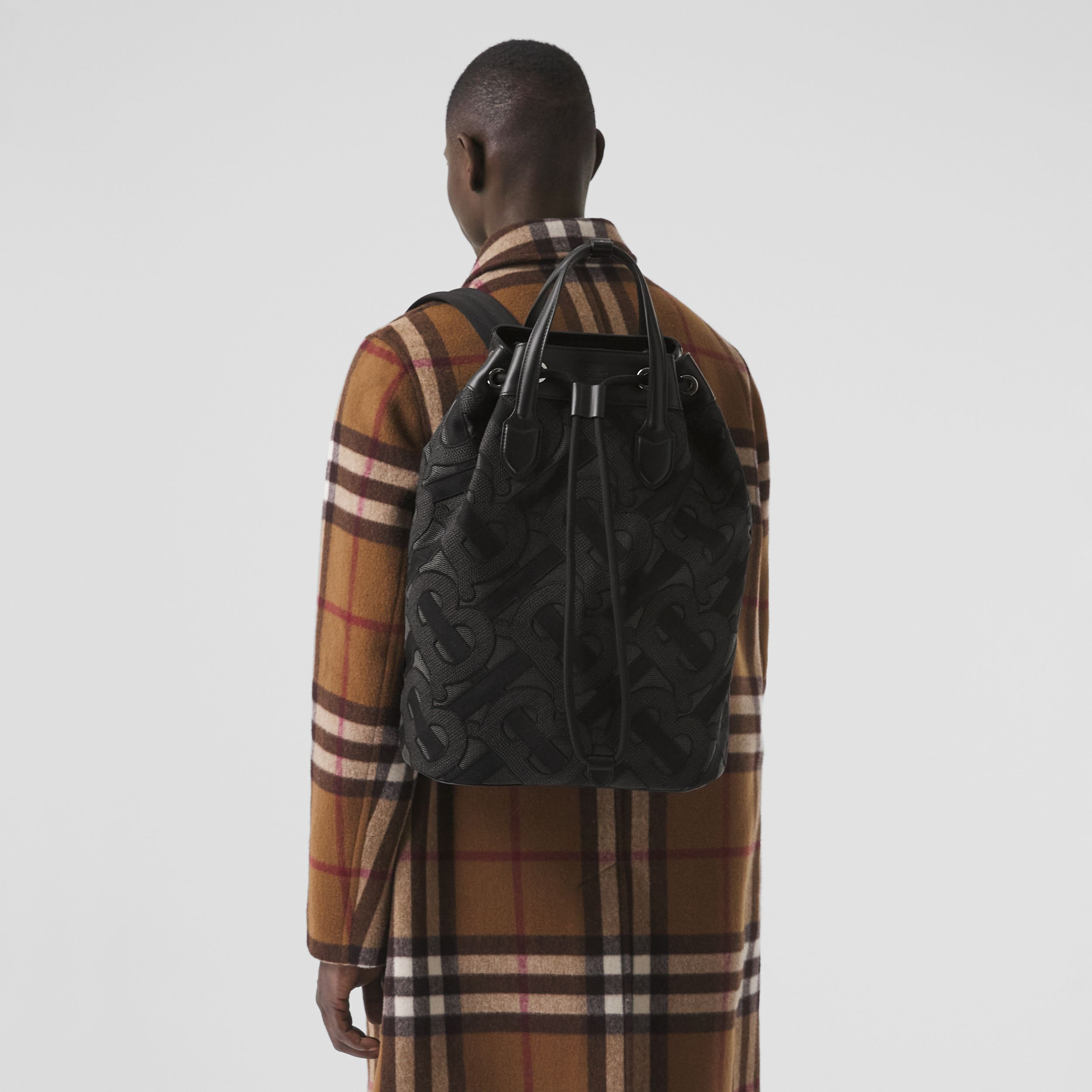 Monogram Cotton Drawcord Backpack in Charcoal Grey | Burberry - 4