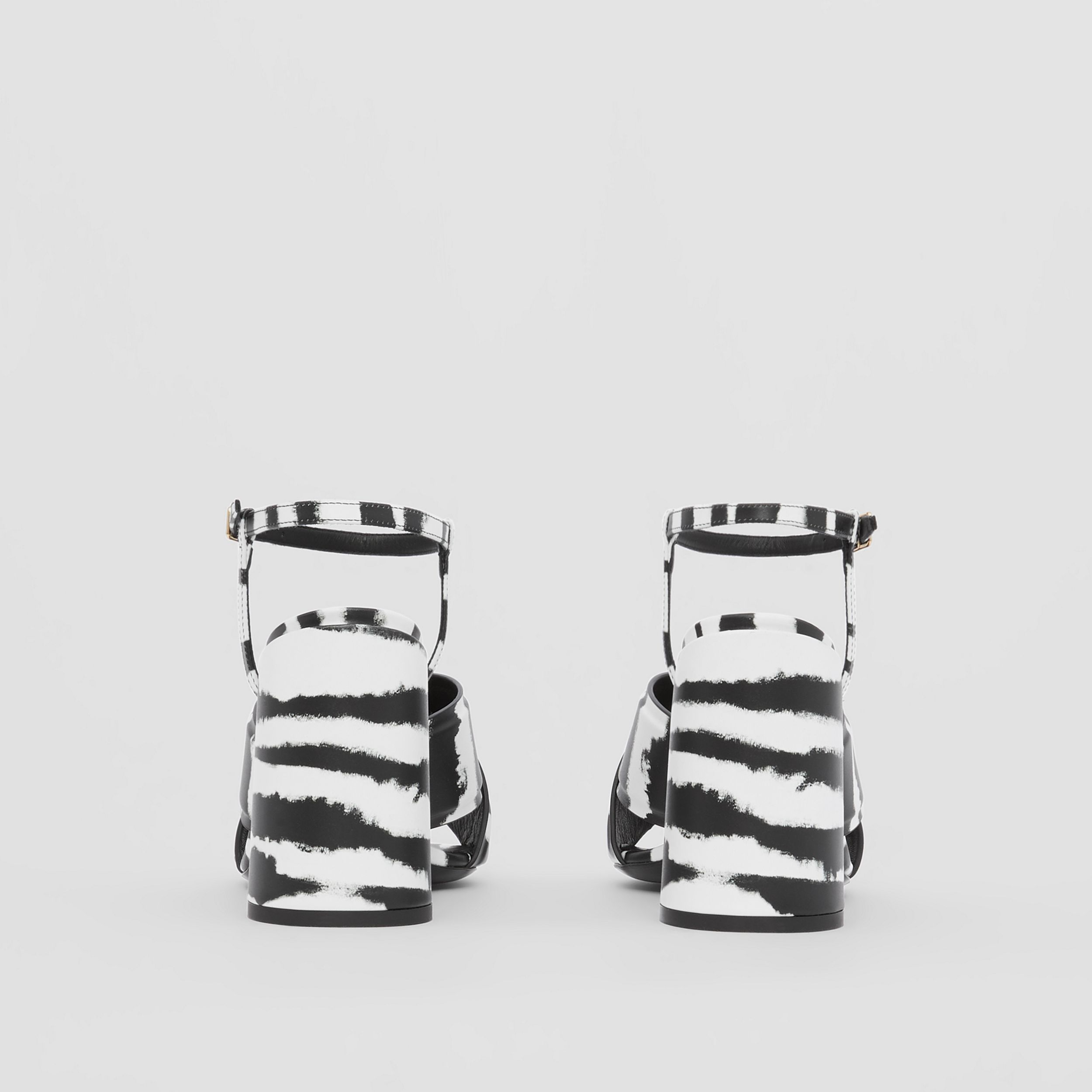 Watercolour Print Leather Block-heel Sandals in Black/white - Women | Burberry - 4
