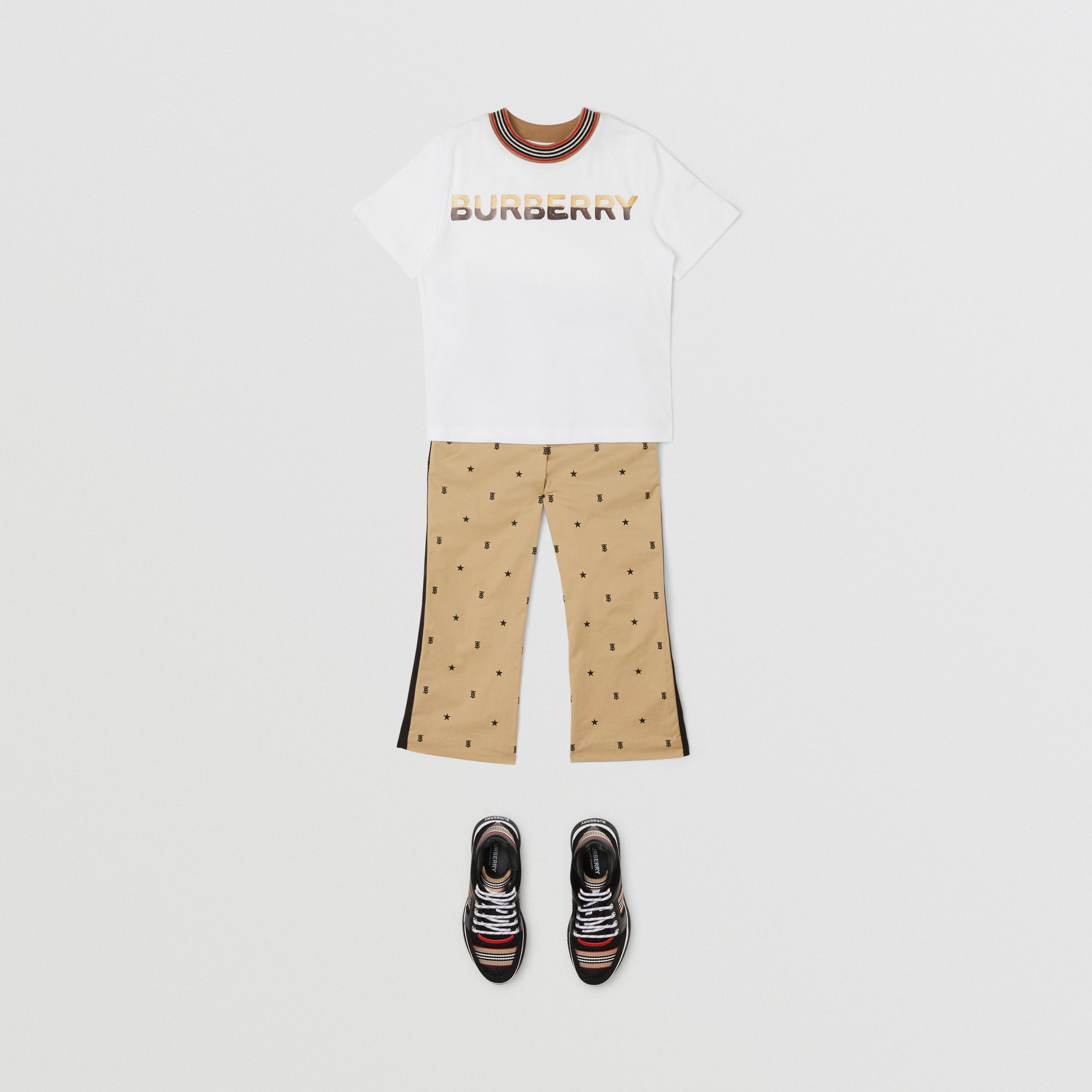 Confectionery Logo Print Cotton T-shirt in White | Burberry - 4
