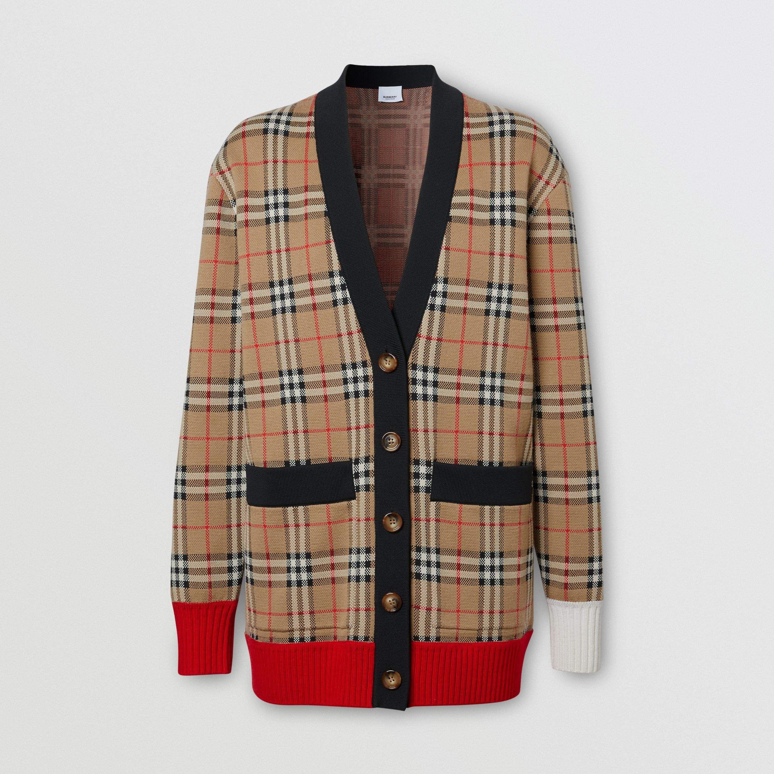 Vintage Check Merino Wool Blend Jacquard Cardigan in Archive Beige - Women | Burberry - 4