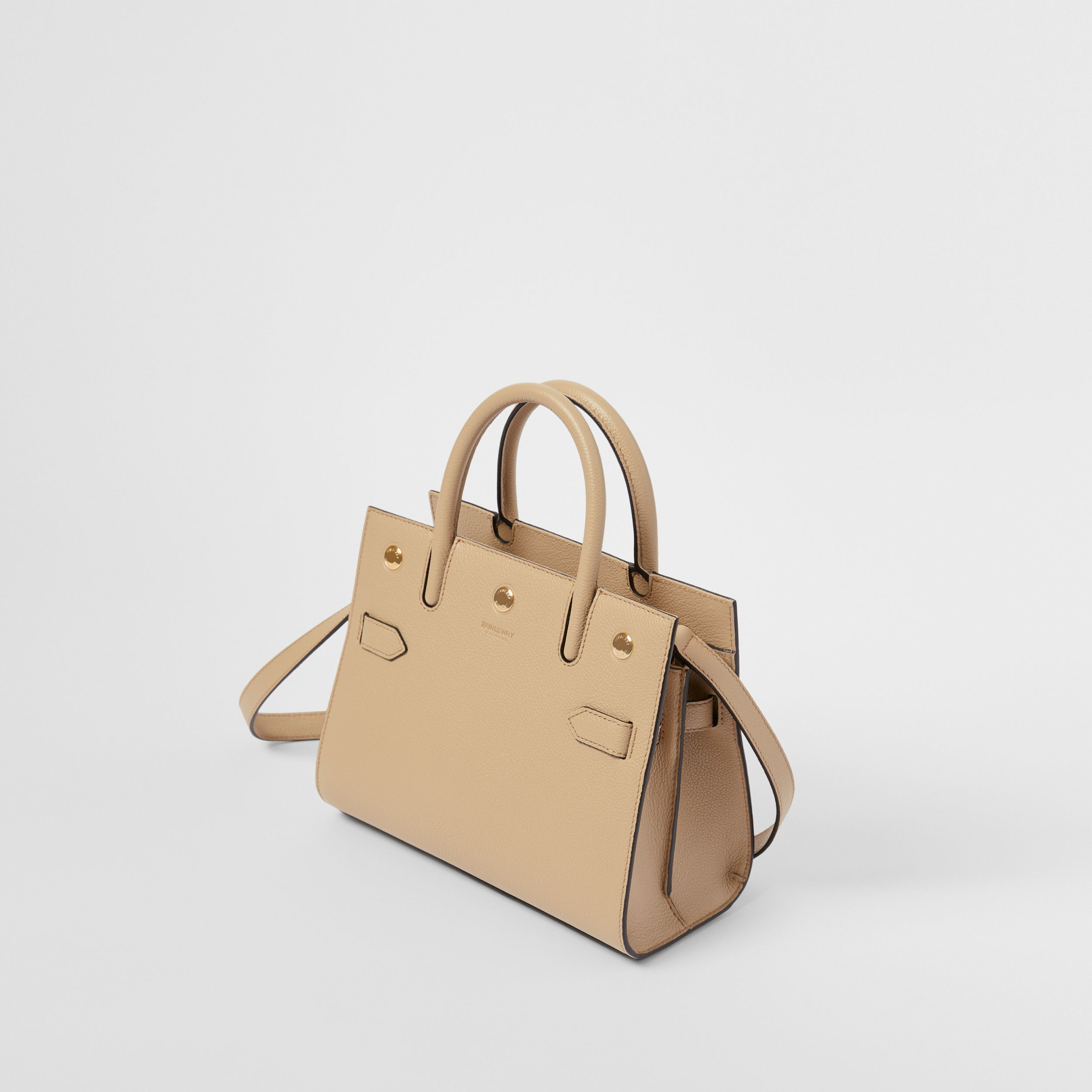 Mini Leather Two-handle Title Bag in Light Beige - Women | Burberry - 4