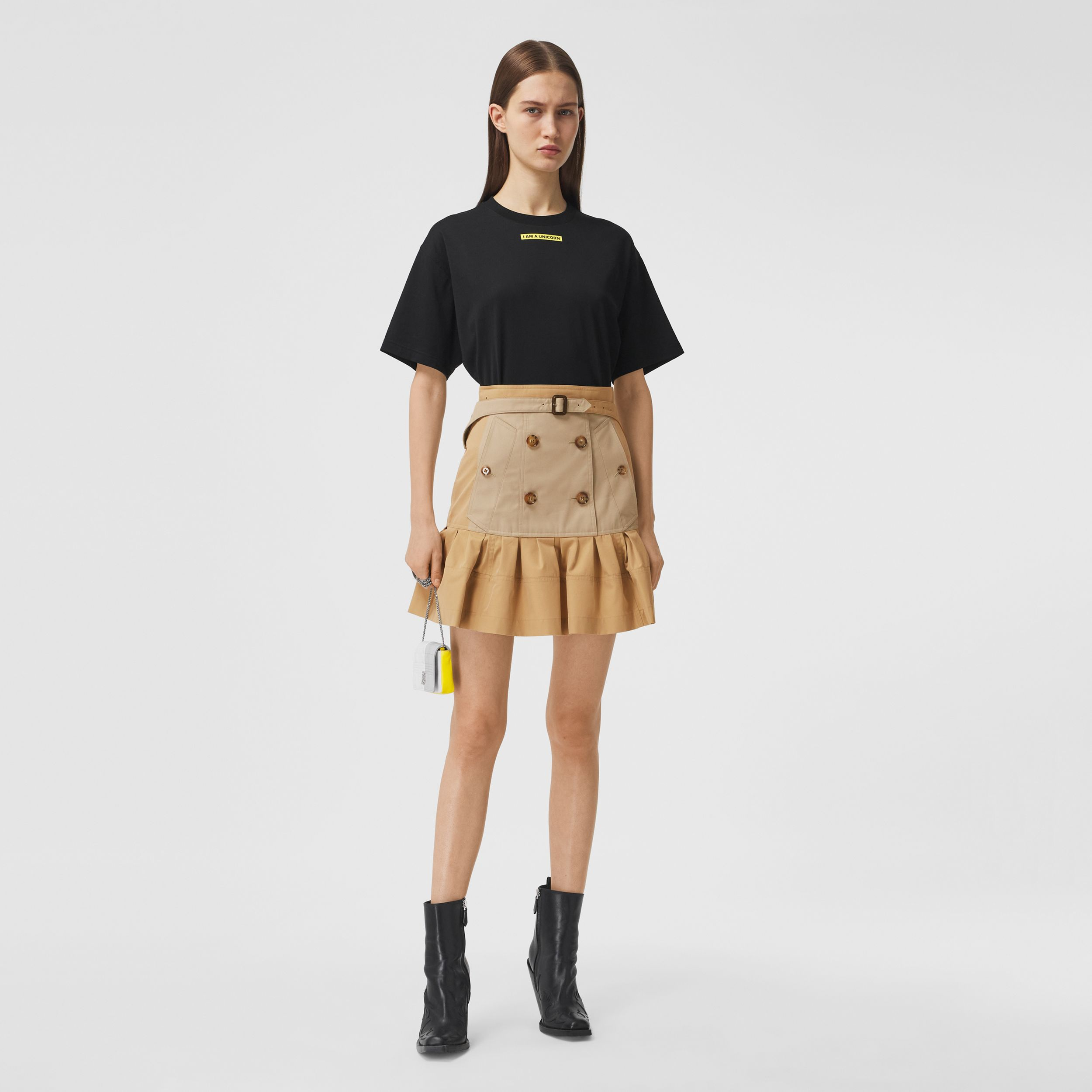 Fluted Two-tone Cotton Gabardine A-line Skirt in Honey - Women | Burberry Canada - 1