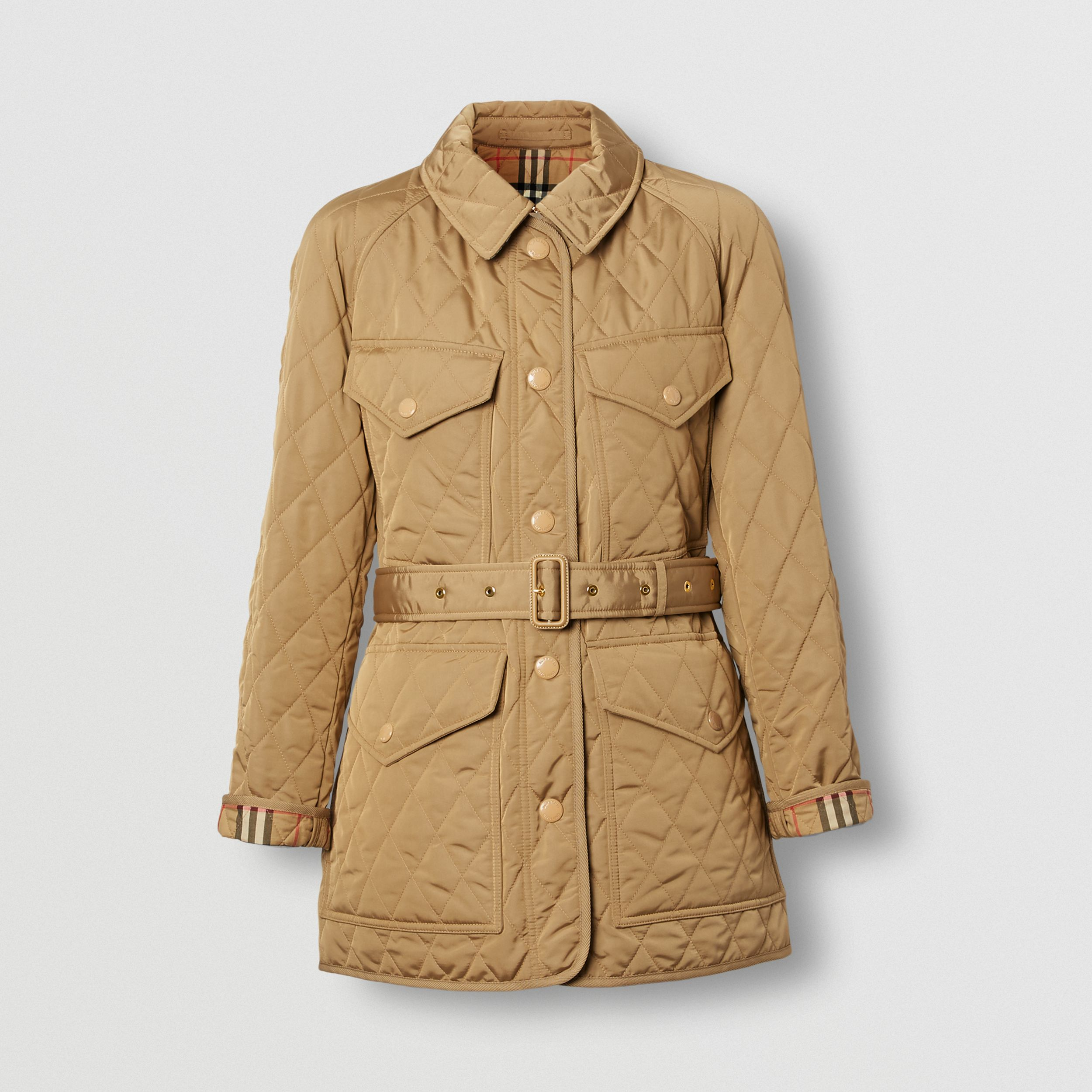 Diamond Quilted Nylon Canvas Field Jacket in Archive Beige - Women | Burberry - 4