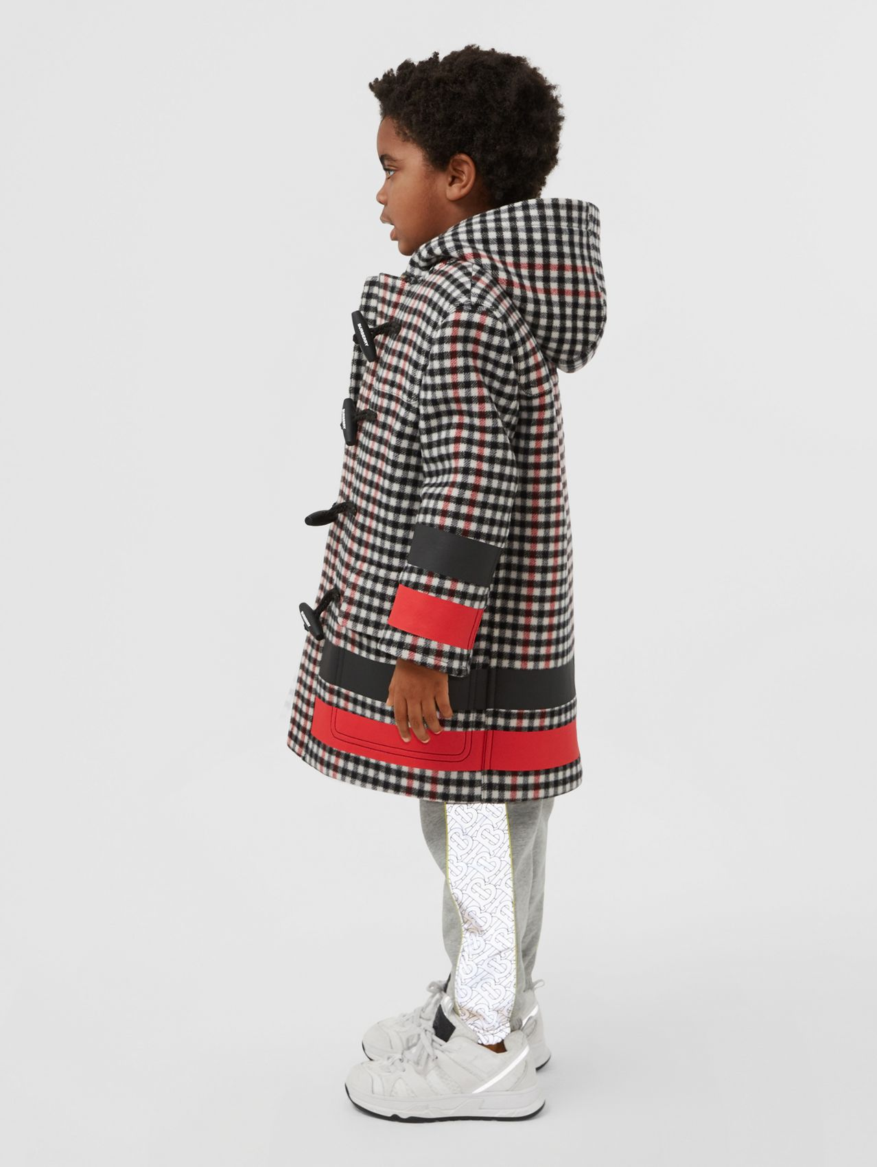 Stripe Print Check Wool Duffle Coat in Black