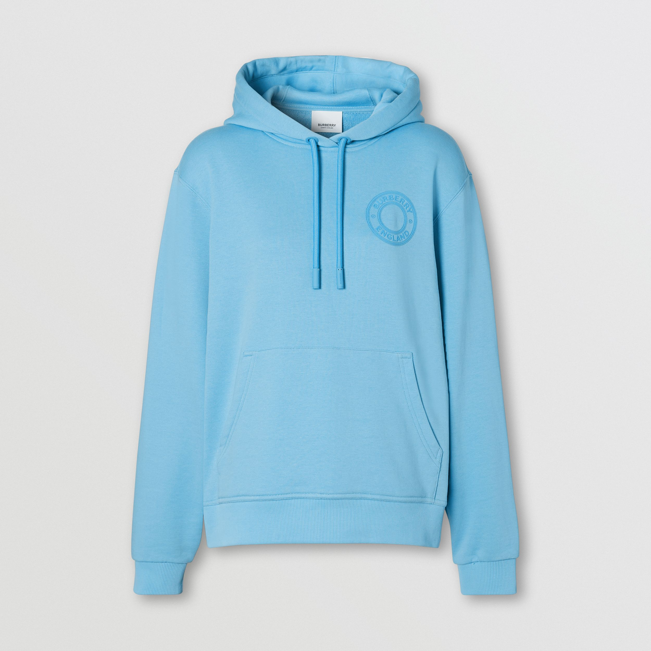 Logo Graphic Cotton Oversized Hoodie in Blue Topaz - Women | Burberry - 4