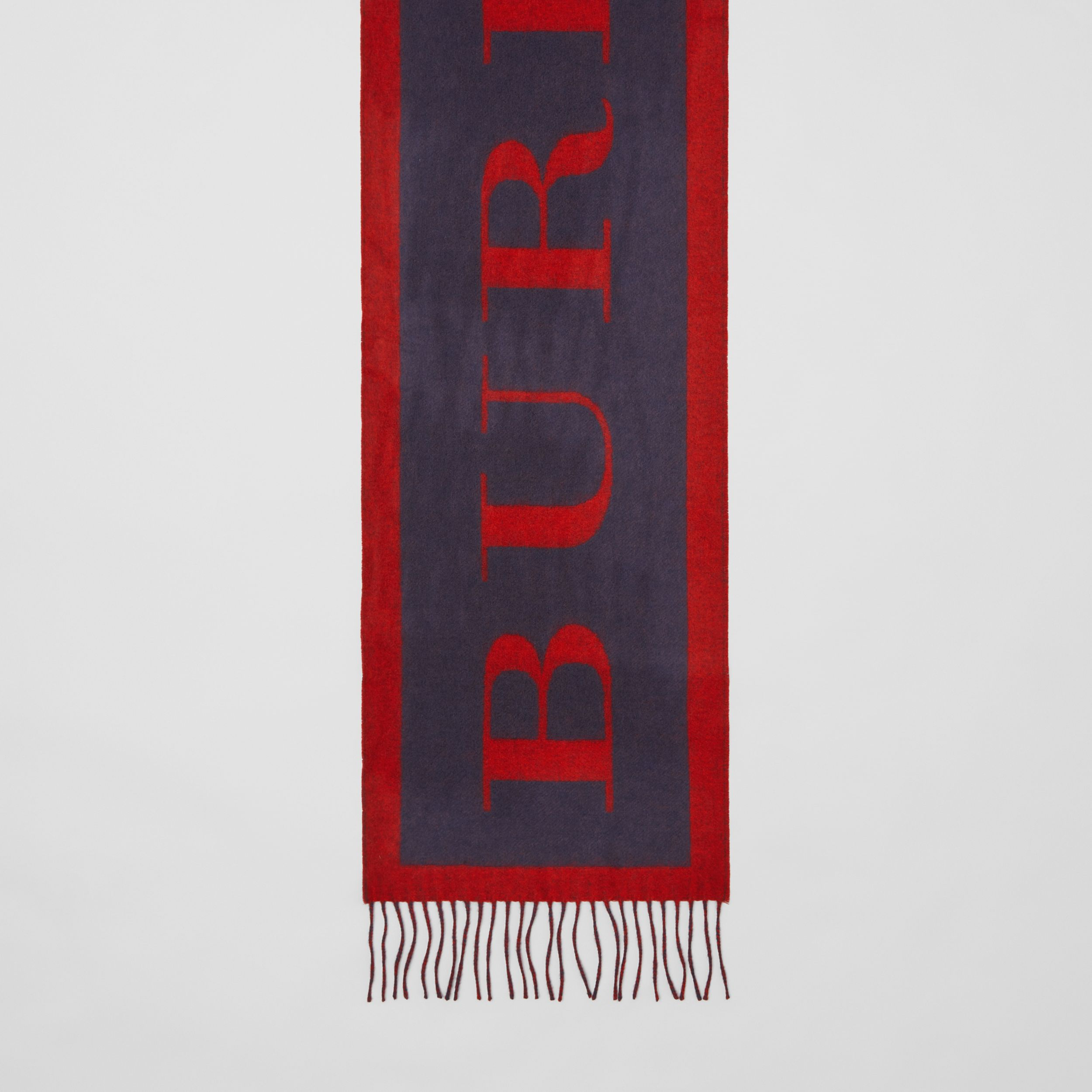 Logo Cashmere Wool Jacquard Scarf in Red/navy | Burberry - 3