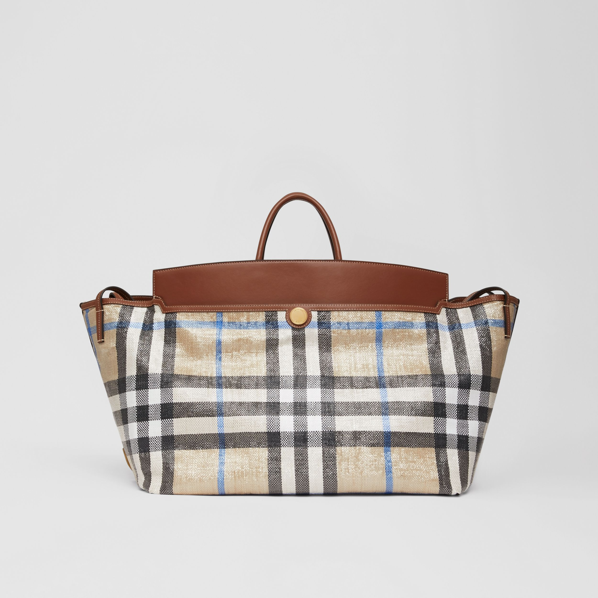 Woven Check and Leather Society Holdall in Dusty Sand - Women | Burberry United Kingdom - 1
