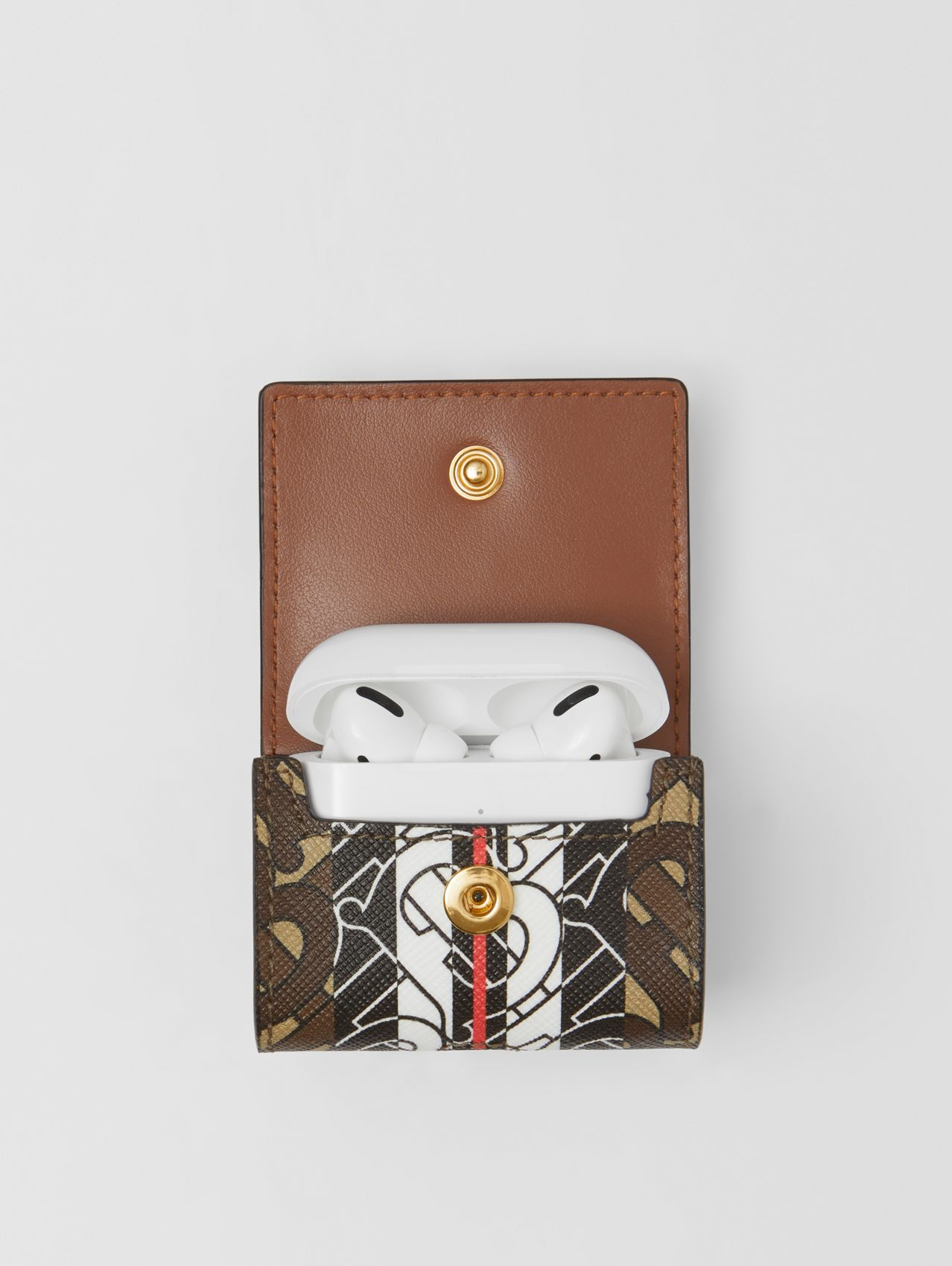 Monogram Stripe E-canvas AirPods Pro Case in Bridle Brown