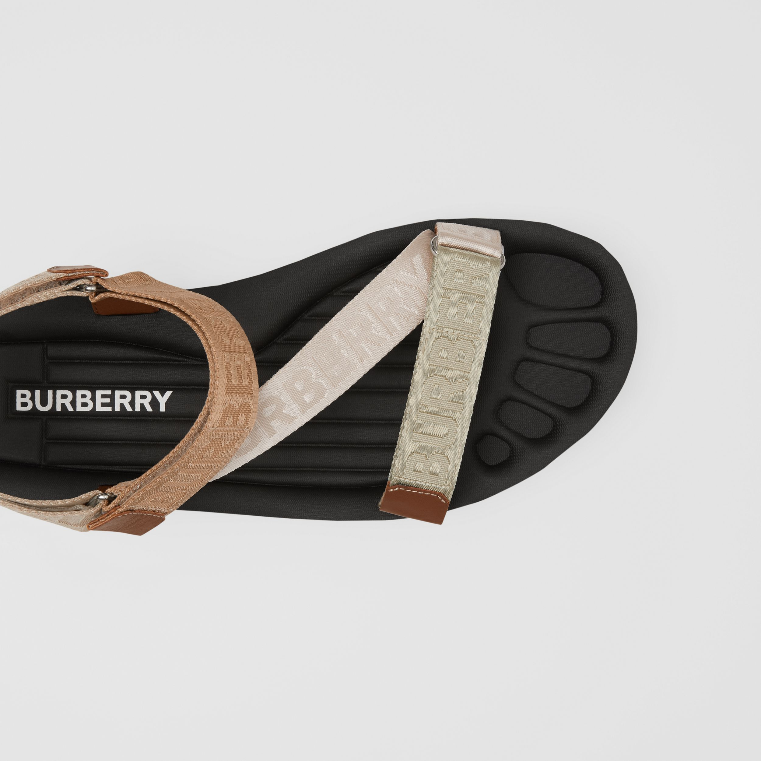 Logo Jacquard Sandals in Archive Beige - Men | Burberry Australia - 2