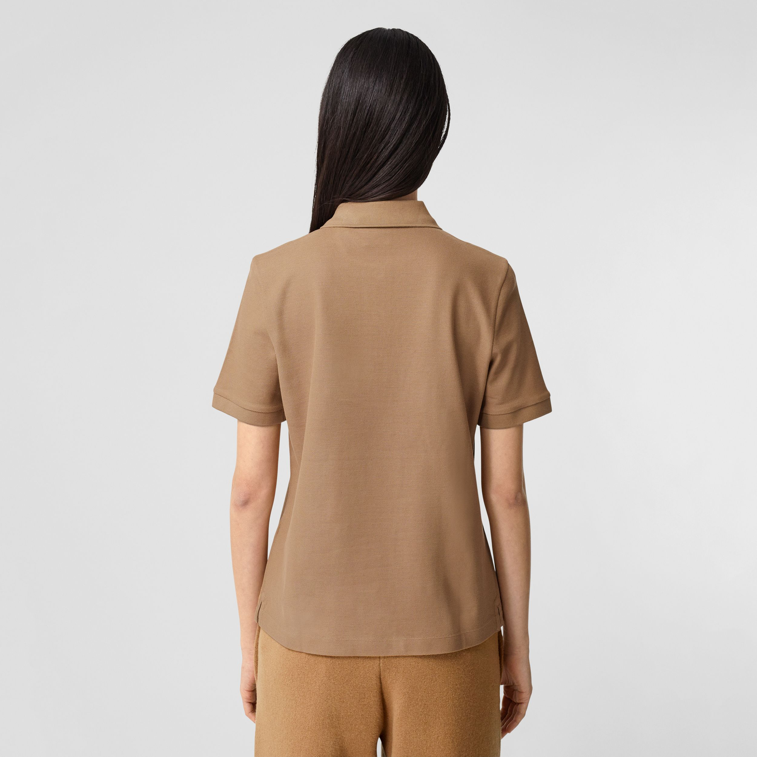 Monogram Motif Cotton Piqué Polo Shirt in Camel - Women | Burberry Hong Kong S.A.R. - 3