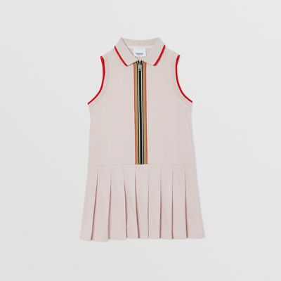 Icon Stripe Detail Cotton Sleeveless Polo Shirt Dress in Pastel Pink | Burberry United States