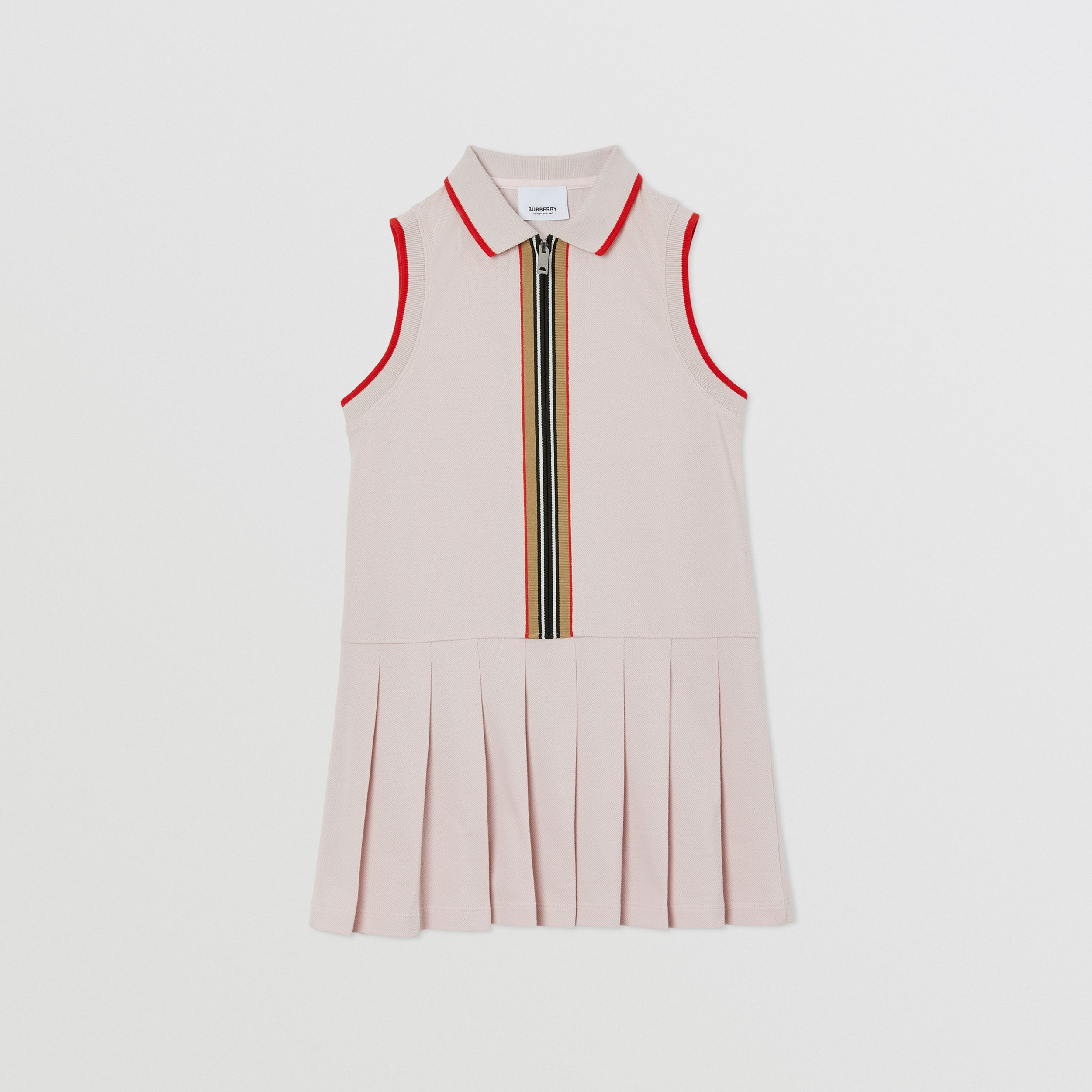 Icon Stripe Detail Cotton Sleeveless Polo Shirt Dress in Pastel Pink | Burberry - 1