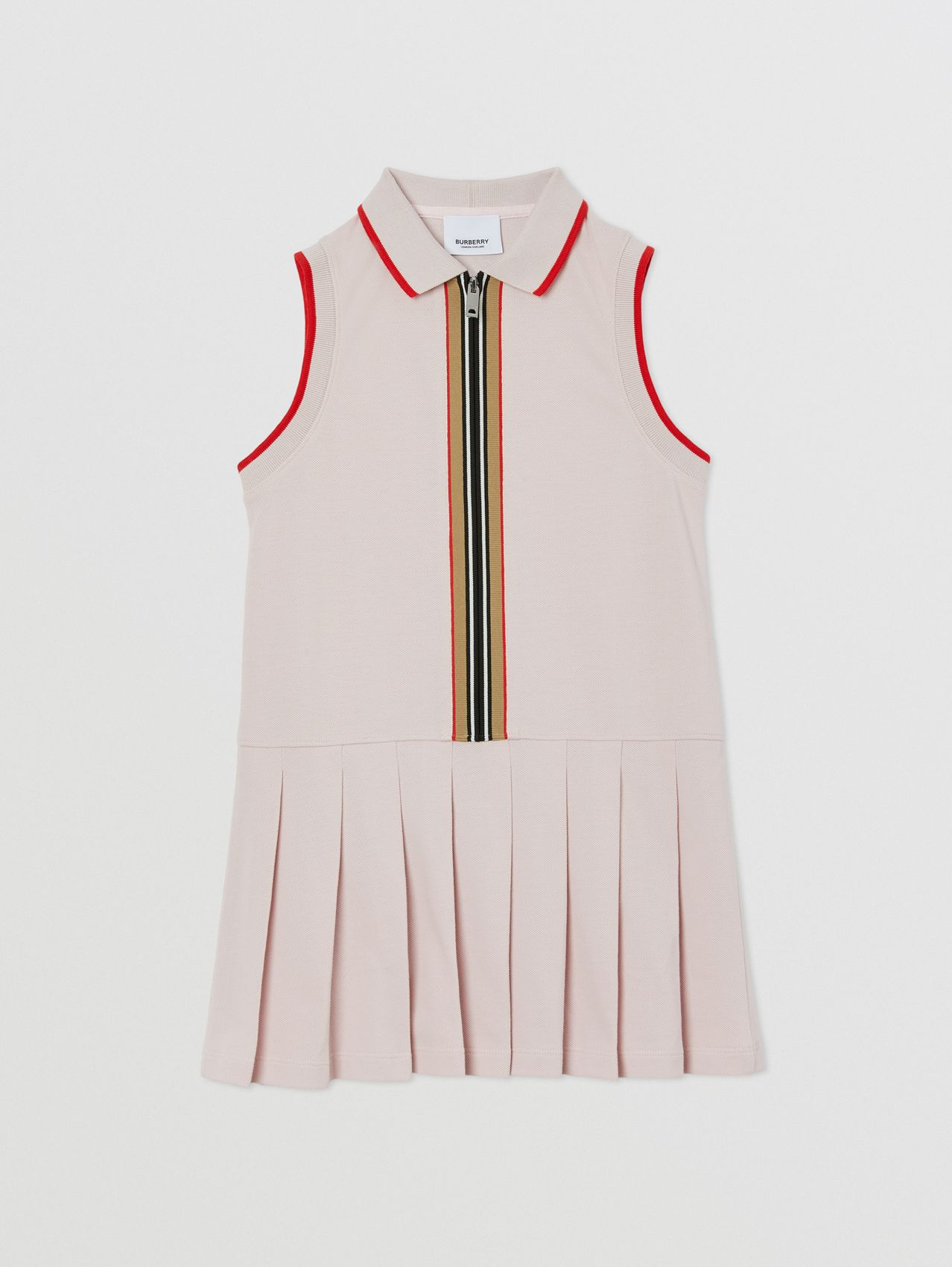 Icon Stripe Detail Cotton Sleeveless Polo Shirt Dress in Pastel Pink