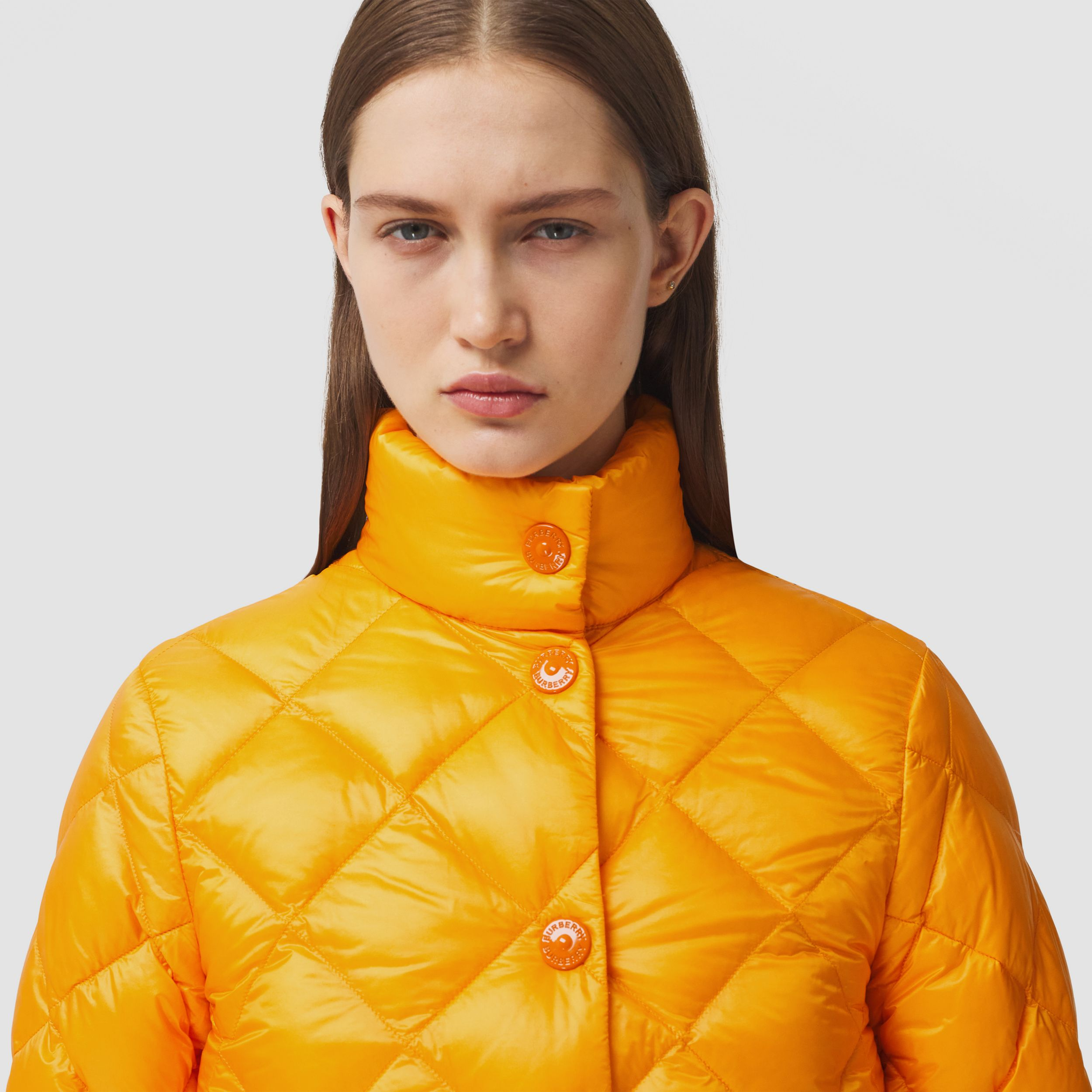 Diamond Quilted Down-filled Jacket in Citrus Orange - Women | Burberry Australia - 2