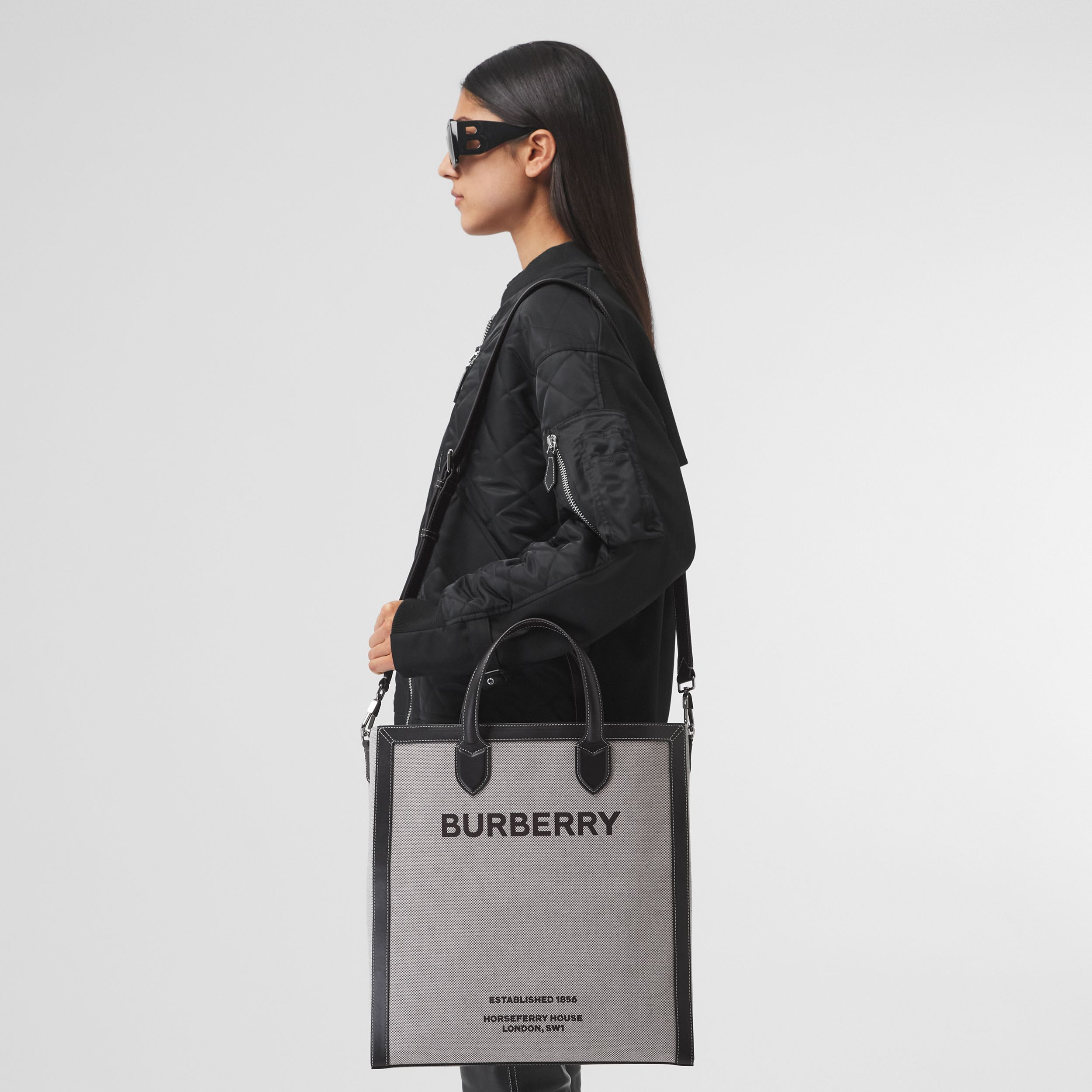 Horseferry Print Canvas and Leather Tote in Black | Burberry Hong Kong S.A.R. - 3