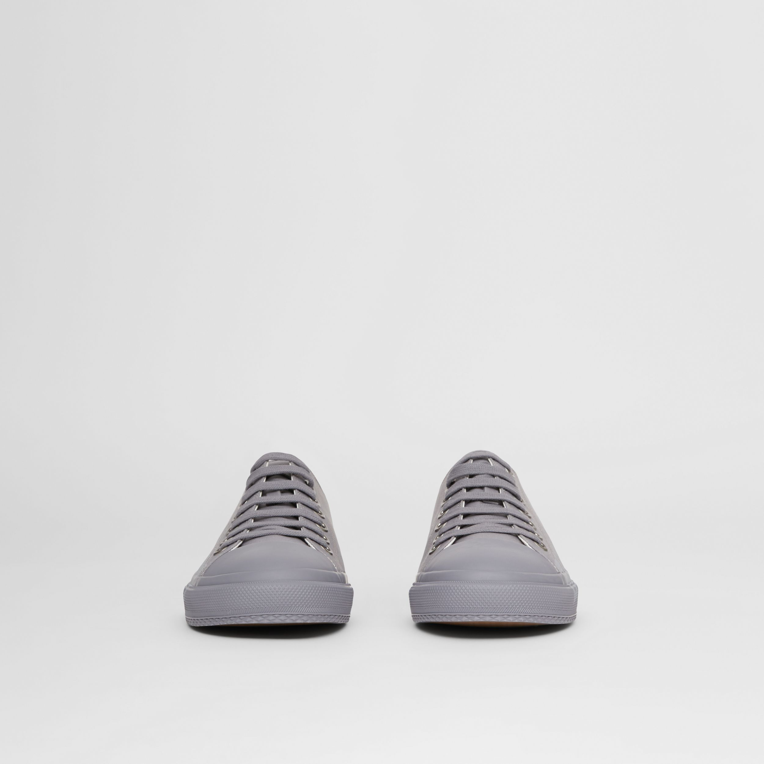 Logo Print Cotton Gabardine Sneakers in Flint Grey - Men | Burberry United States - 4
