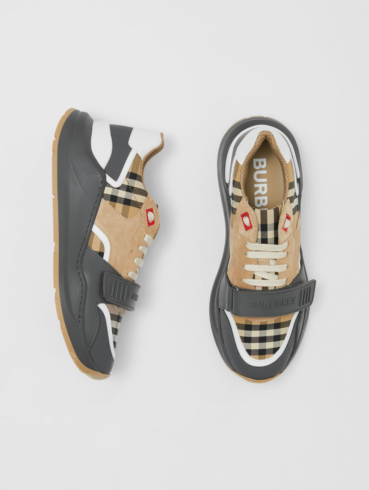 Vintage Check, Suede and Leather Sneakers (Grey/archive Beige)