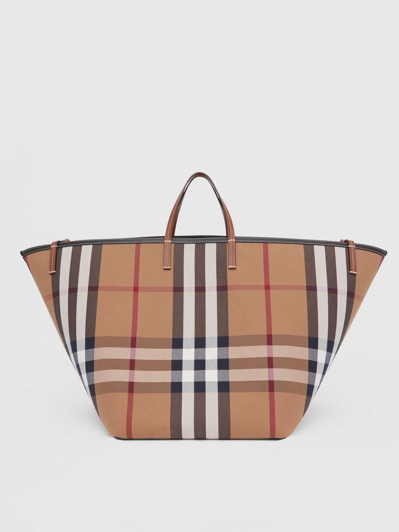 Extra Large Check Cotton Beach Tote in Birch Brown