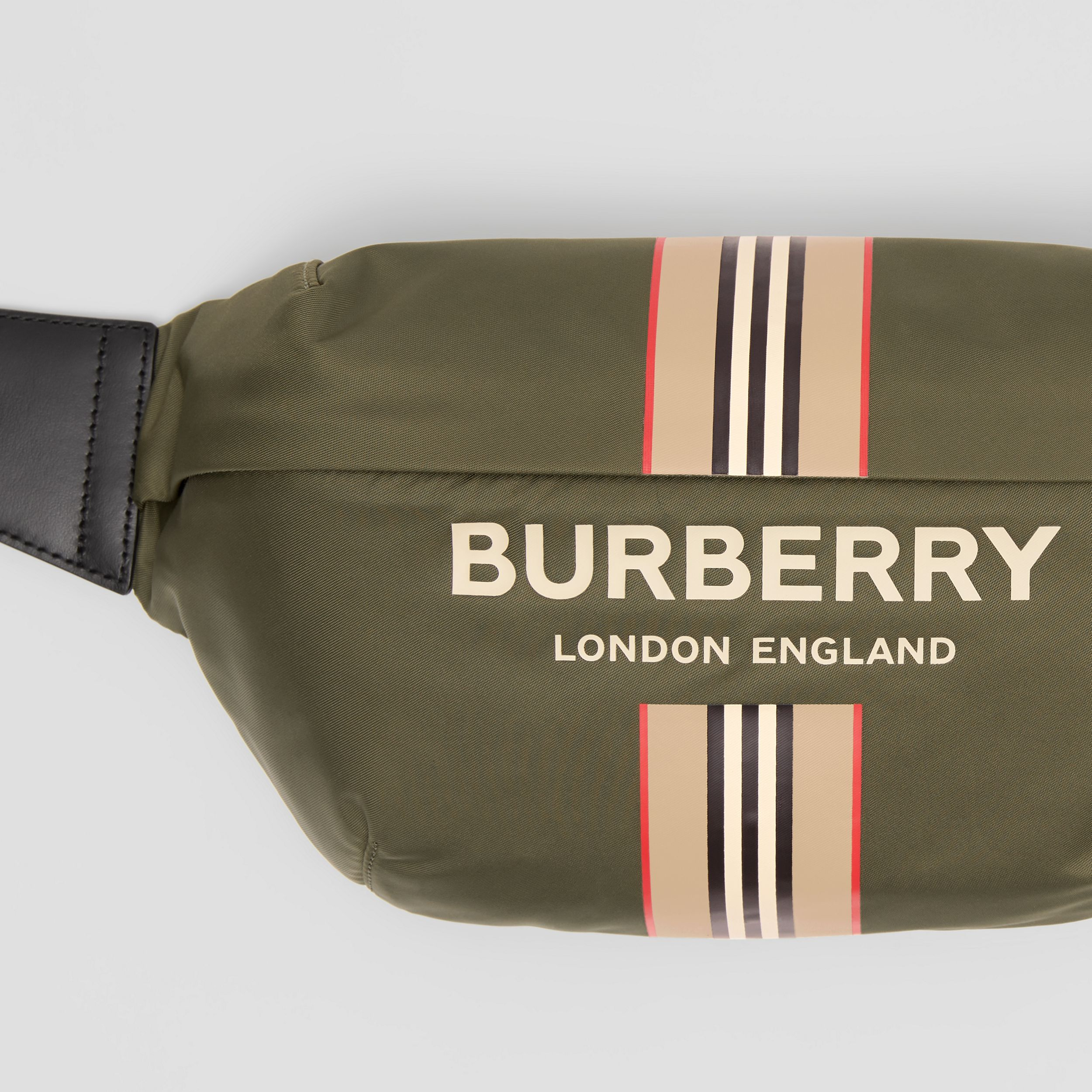 Logo and Icon Stripe Print ECONYL® Sonny Bum Bag in Dark Olive Green | Burberry - 2