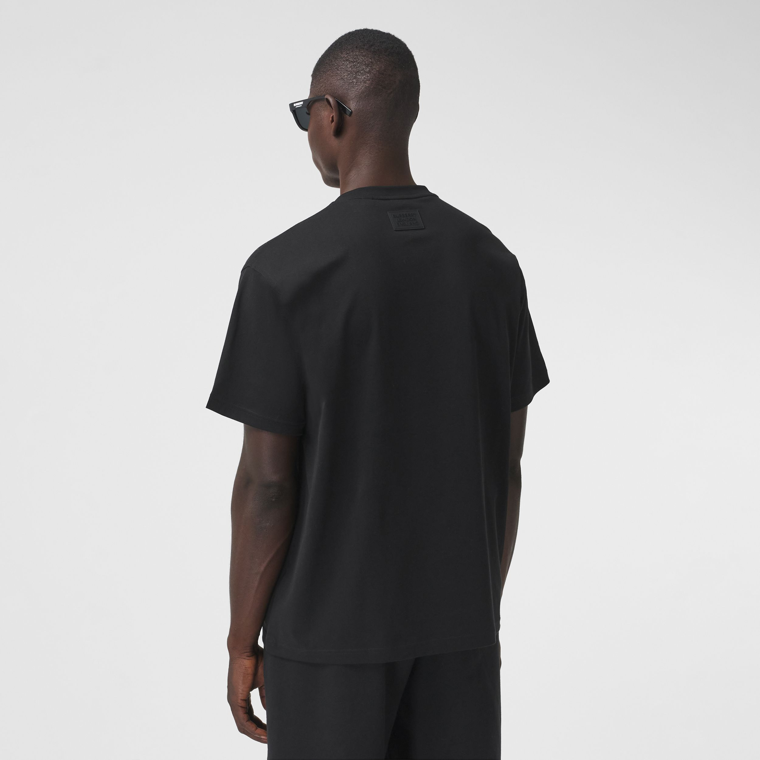 Meadow Print Cotton Oversized T-shirt in Black - Men | Burberry Australia - 3