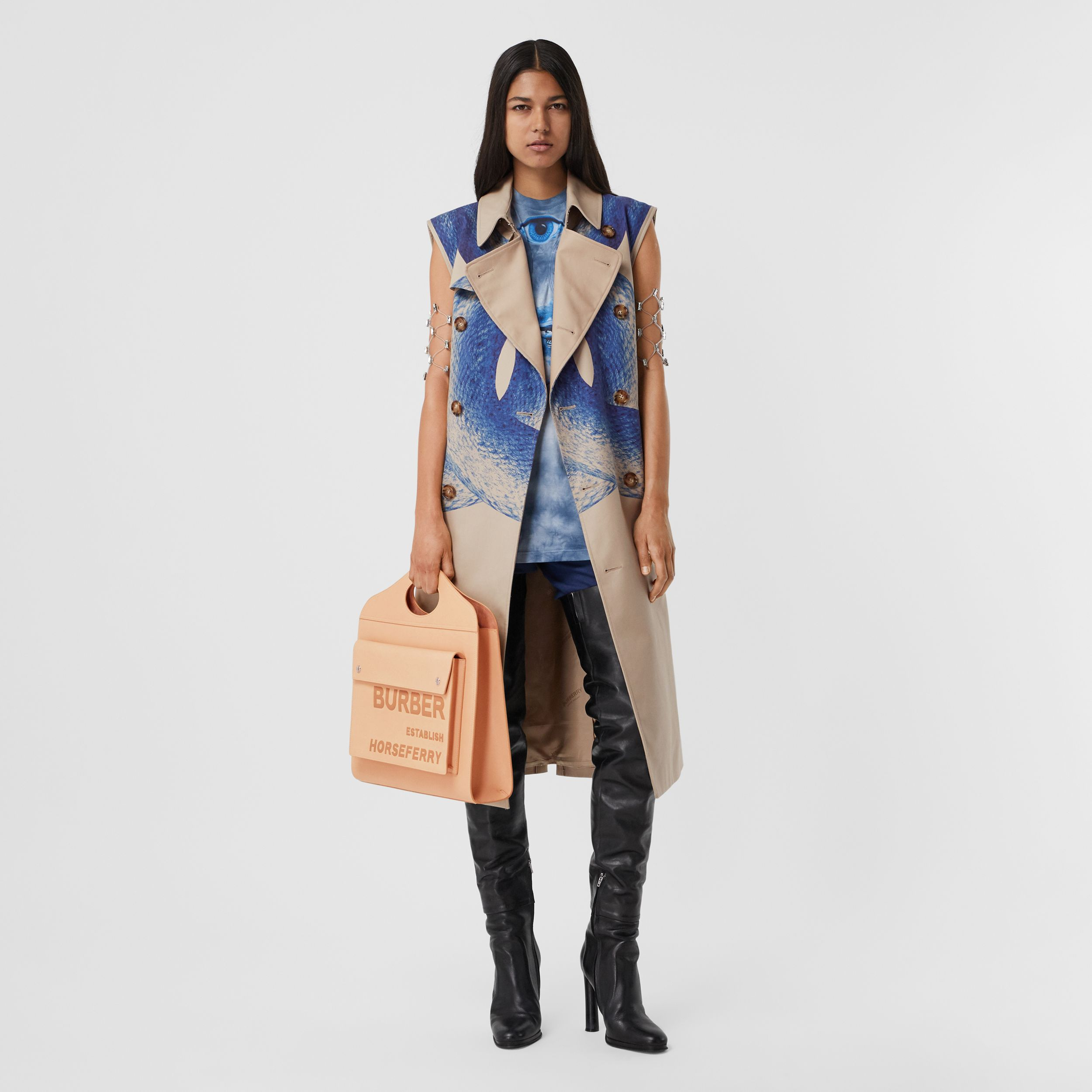 Mermaid Tail Print Cotton Sleeveless Trench Coat in Ink Navy - Women | Burberry United Kingdom - 1