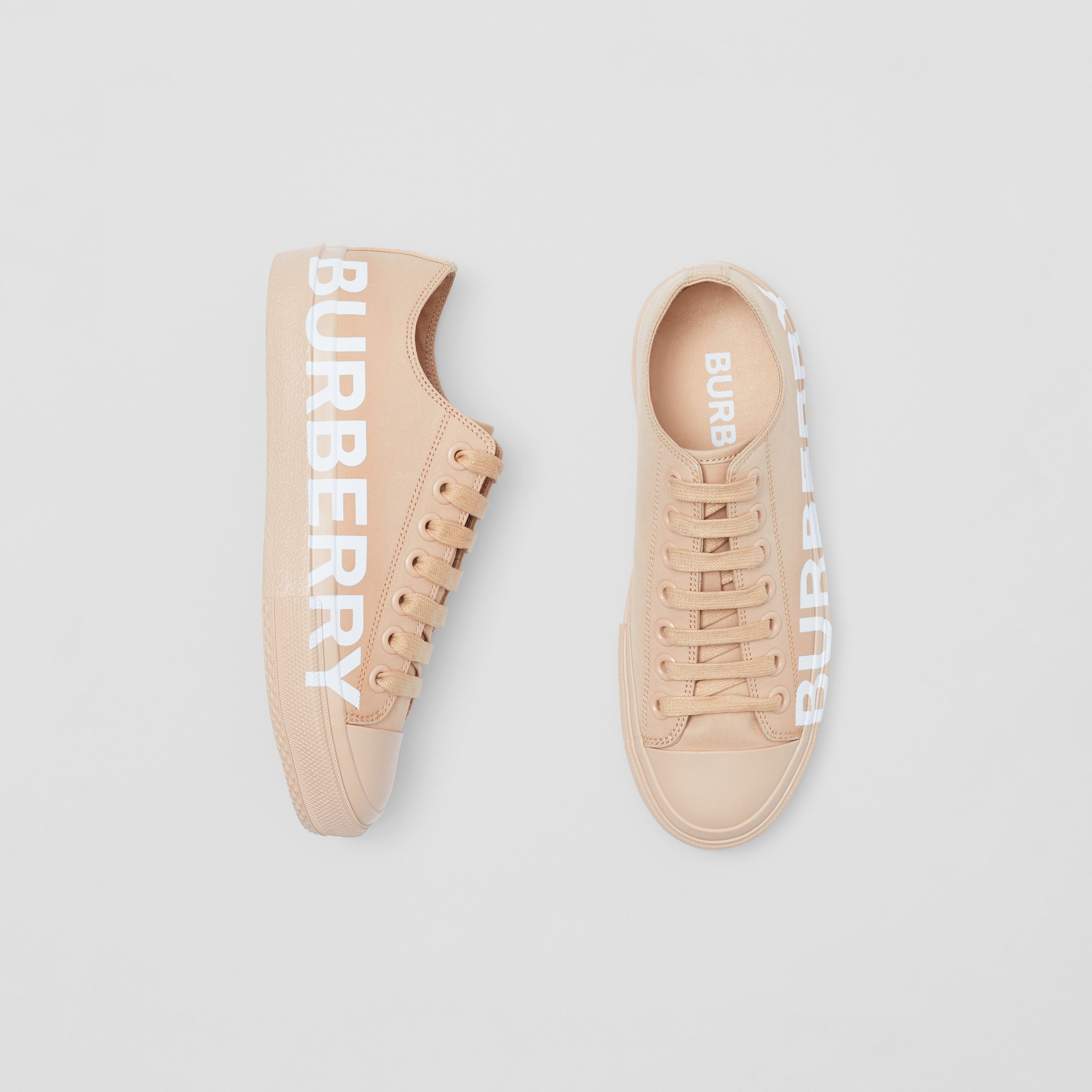 Logo Print Cotton Gabardine Sneakers in Light Almond - Women | Burberry - 1