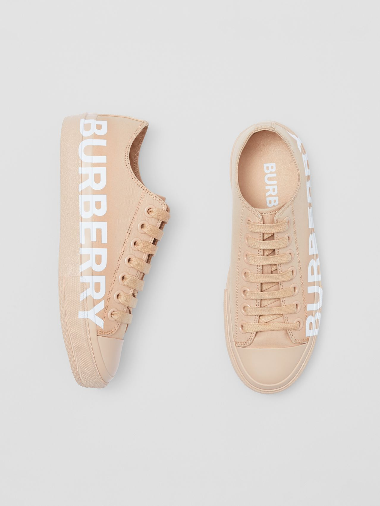 Logo Print Cotton Gabardine Sneakers in Light Almond
