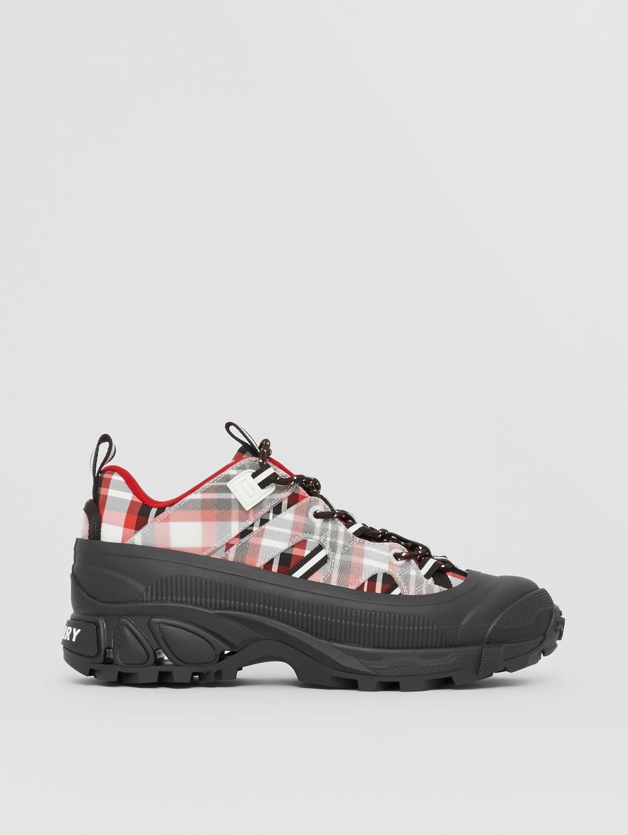 Check Nylon Arthur Sneakers in Red/black/white