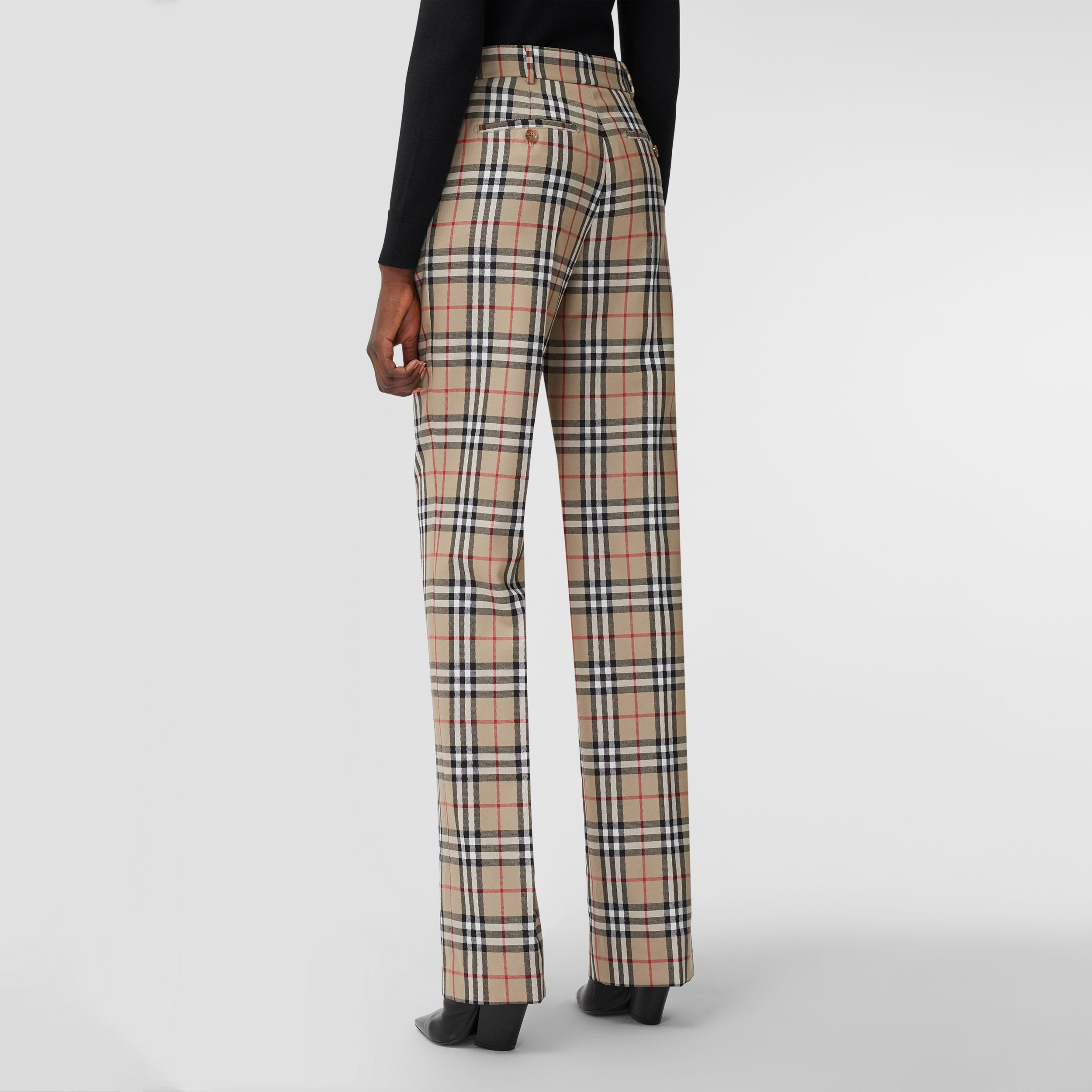 Vintage Check Wool Tailored Trousers in Archive Beige - Women | Burberry - 3