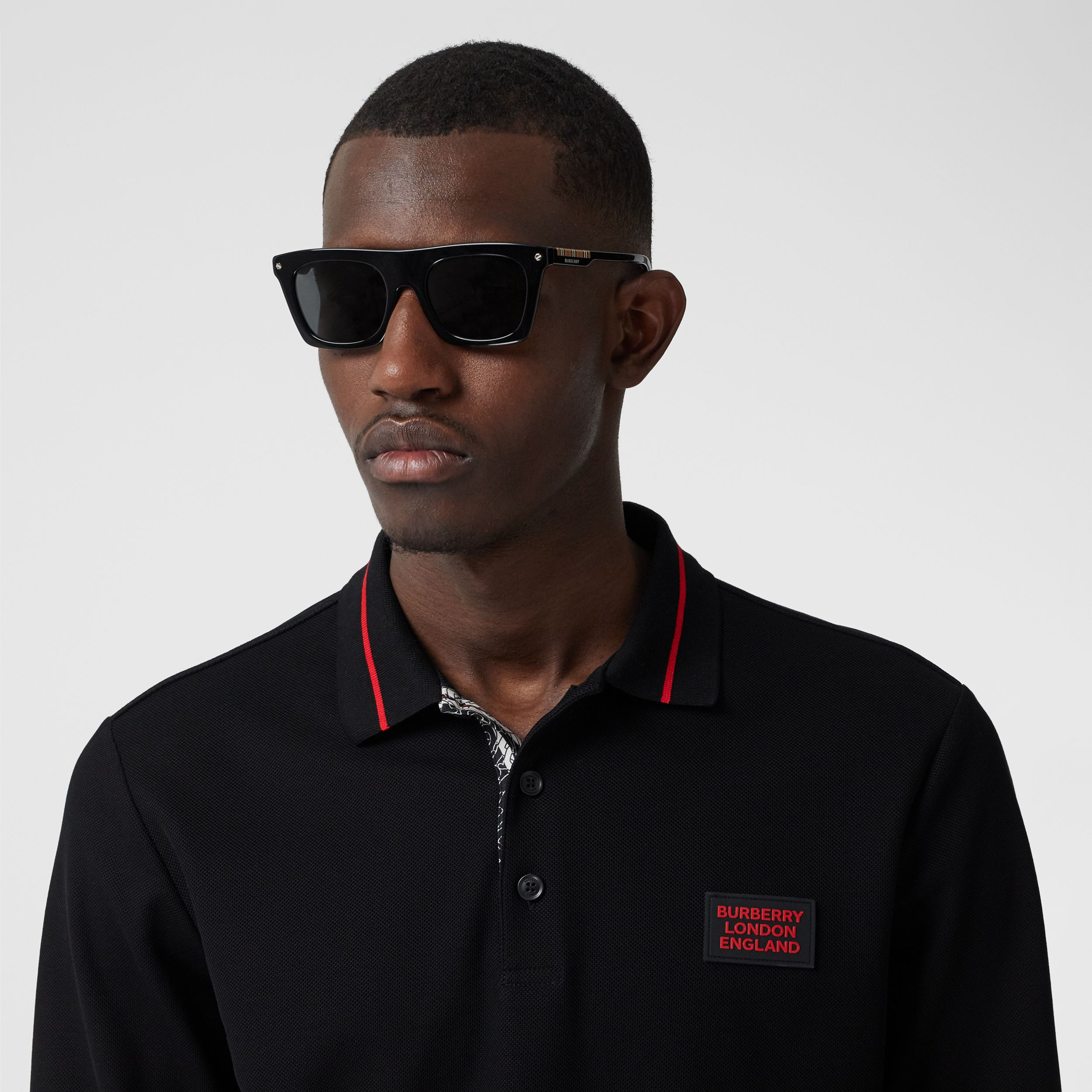 Long-sleeve Logo Appliqué Cotton Polo Shirt in Black - Men | Burberry - 2