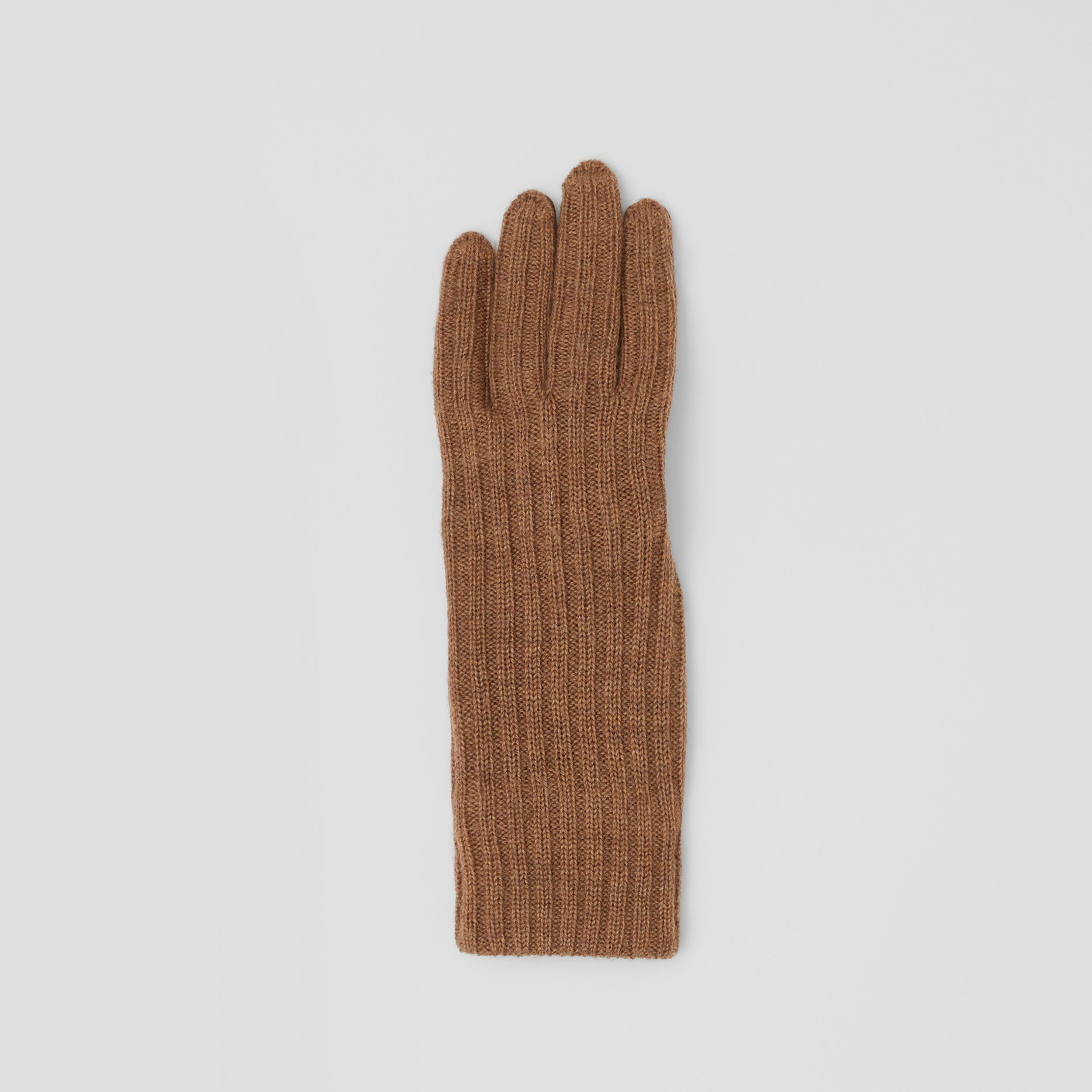 Cashmere-lined Merino Wool and Deerskin Gloves in Camel - Men | Burberry - 3