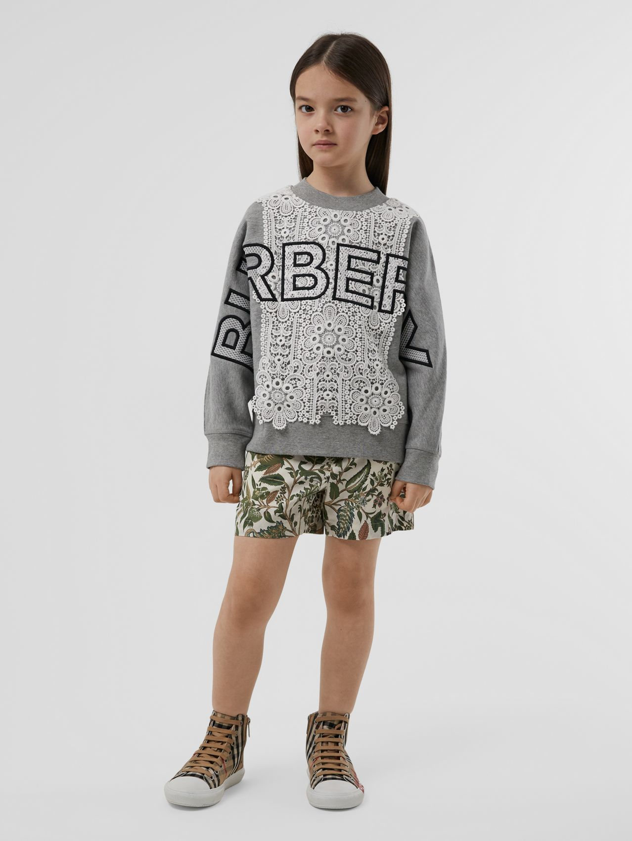 Logo Embroidered Lace Panel Cotton Sweatshirt (Grey Melange)
