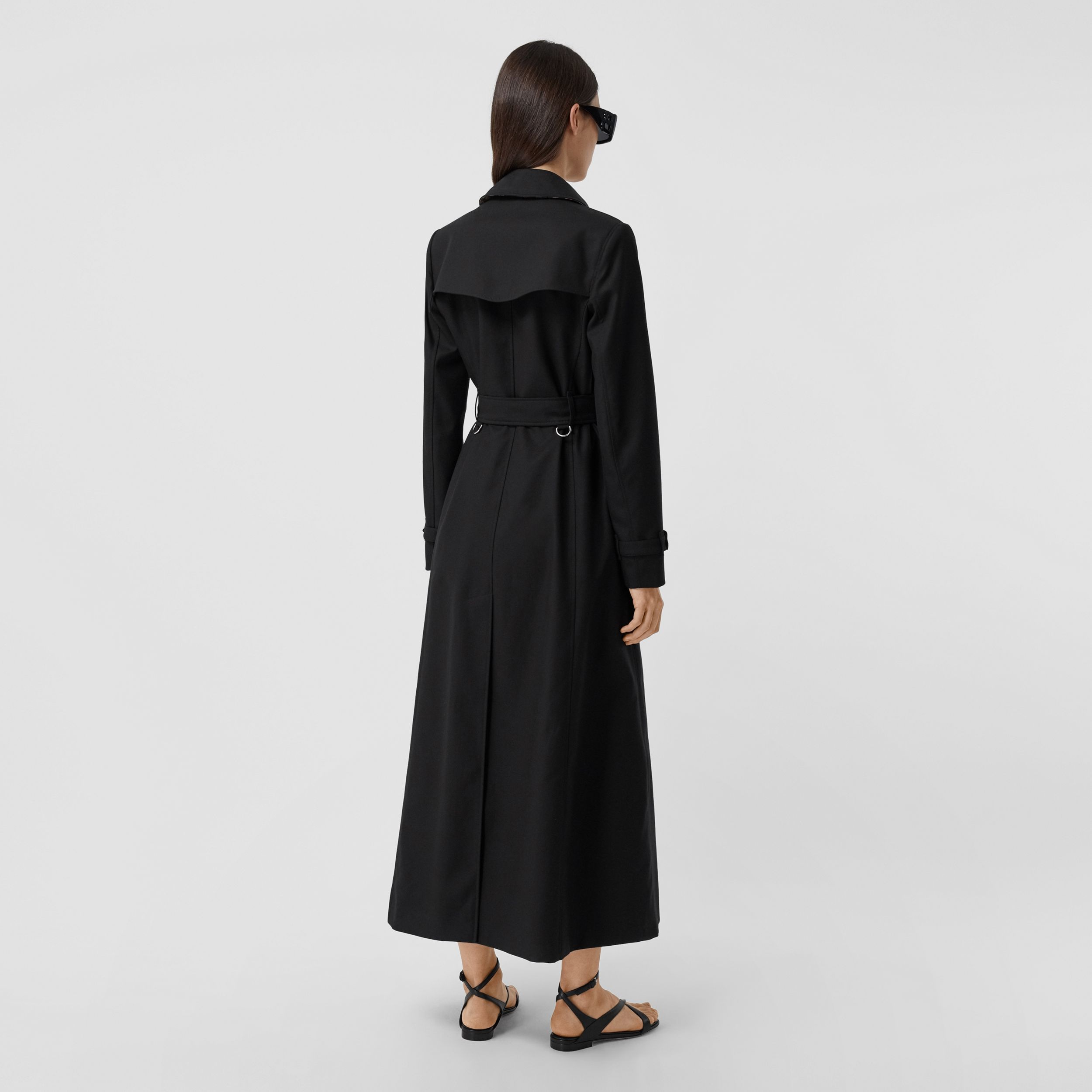 Pocket Detail Cotton Gabardine Trench Coat in Black - Women | Burberry - 3
