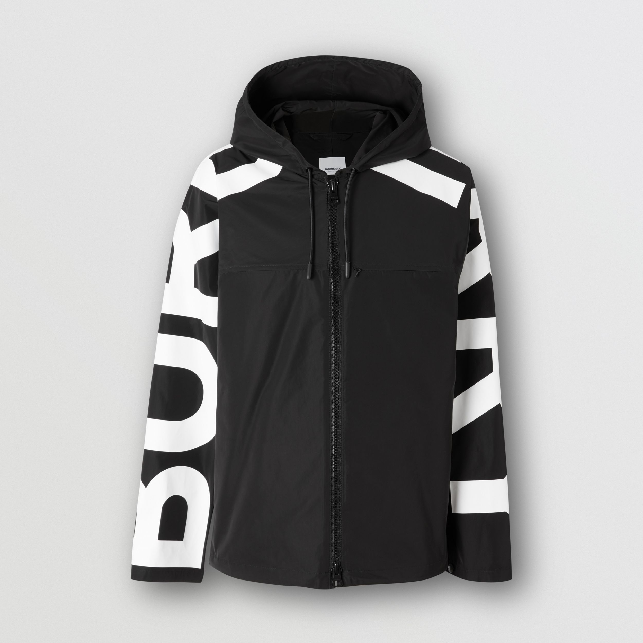 Logo Print Shape-memory Taffeta Hooded Jacket in Black | Burberry - 4