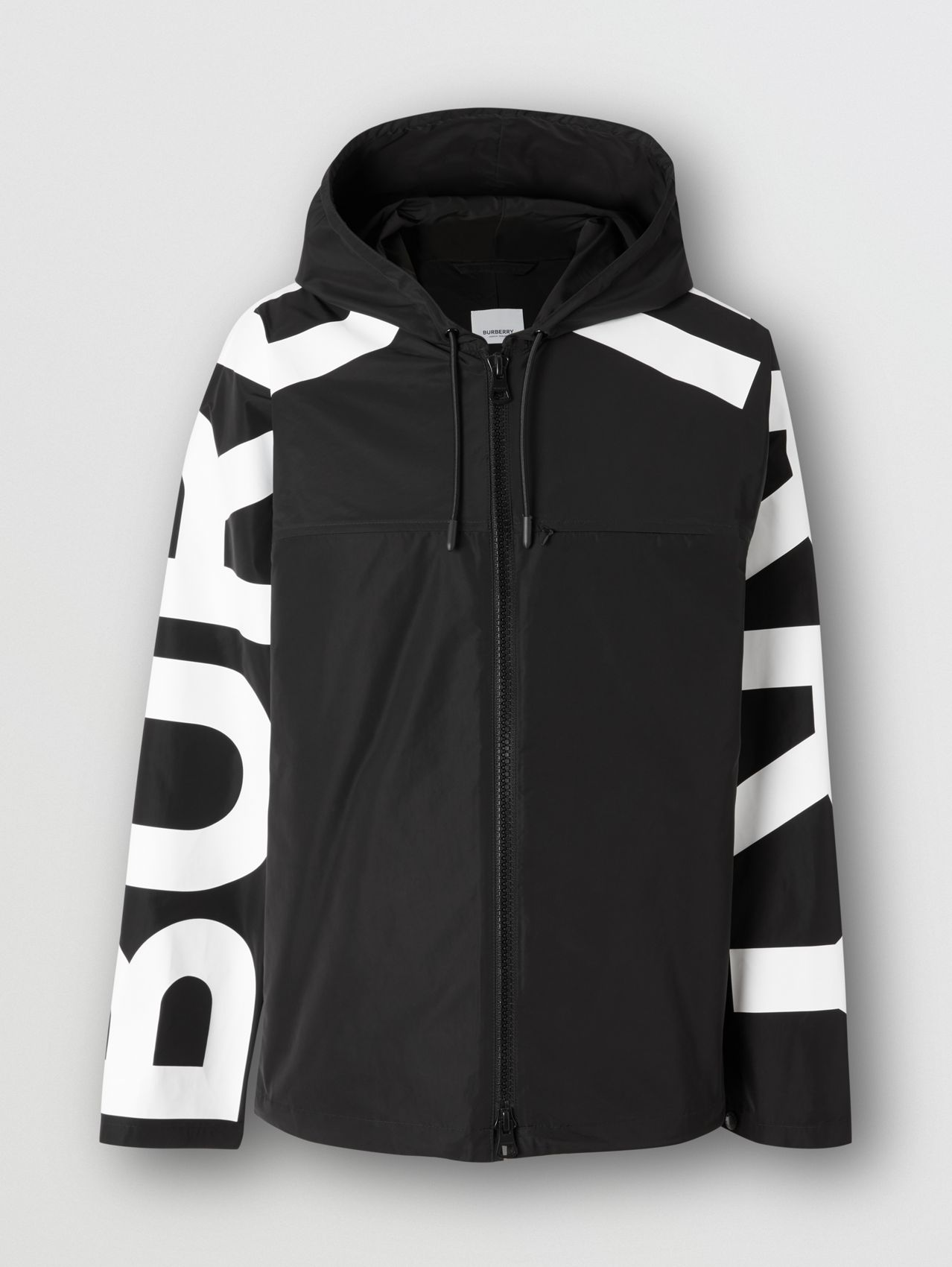 Logo Print Shape-memory Taffeta Hooded Jacket in Black