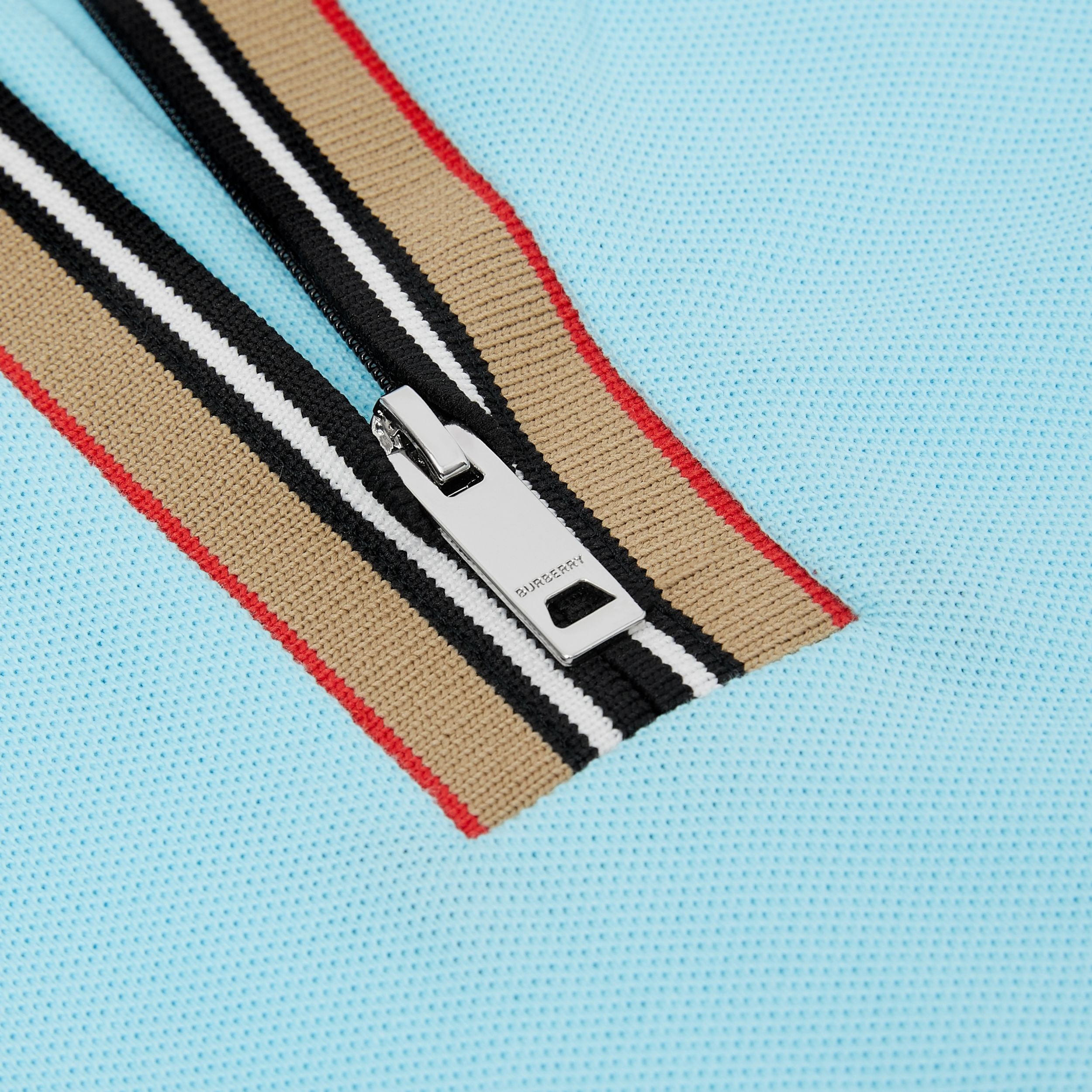 Icon Stripe Detail Cotton Zip-front Polo Shirt in Pale Turquoise - Children | Burberry United Kingdom - 2