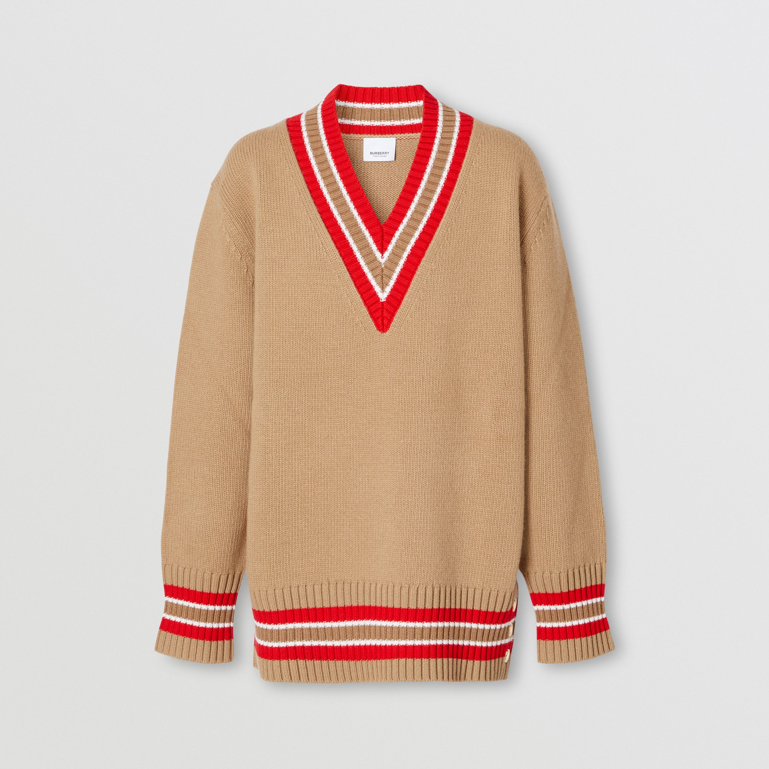 Wool Oversized Cricket Sweater in Camel - Women | Burberry - 4