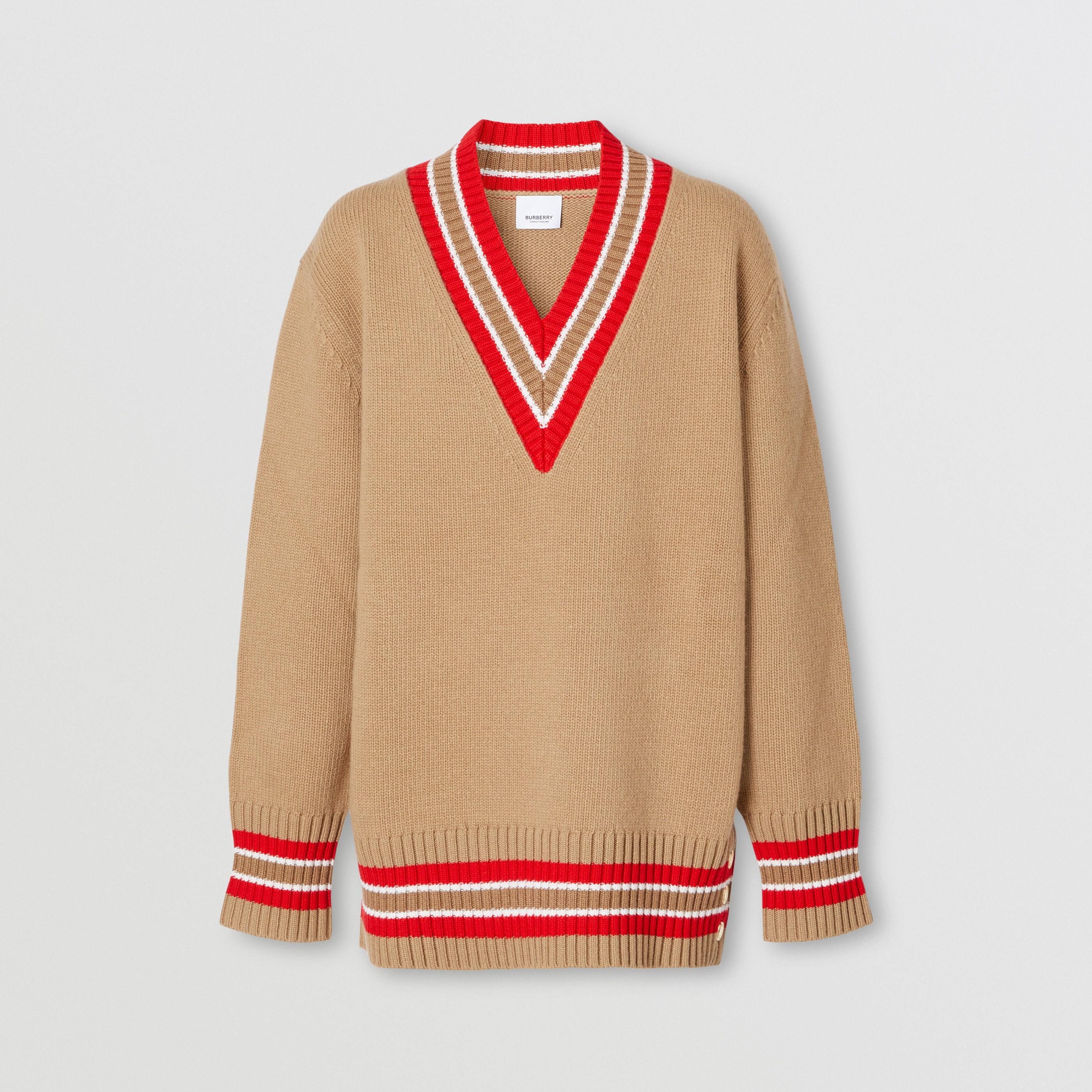 Pullover stile cricket oversize in lana (Cammello) - Donna | Burberry - 4